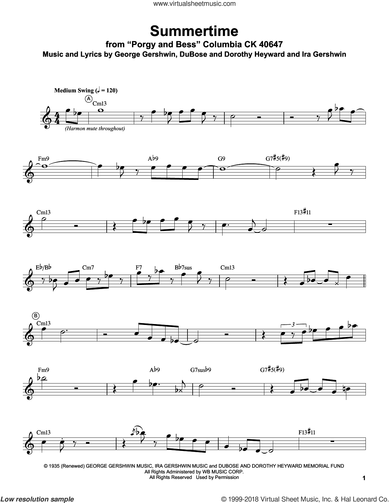Summertime sheet music for trumpet solo (transcription) by Miles Davis, Dorothy Heyward, DuBose Heyward, George Gershwin and Ira Gershwin, intermediate trumpet (transcription)