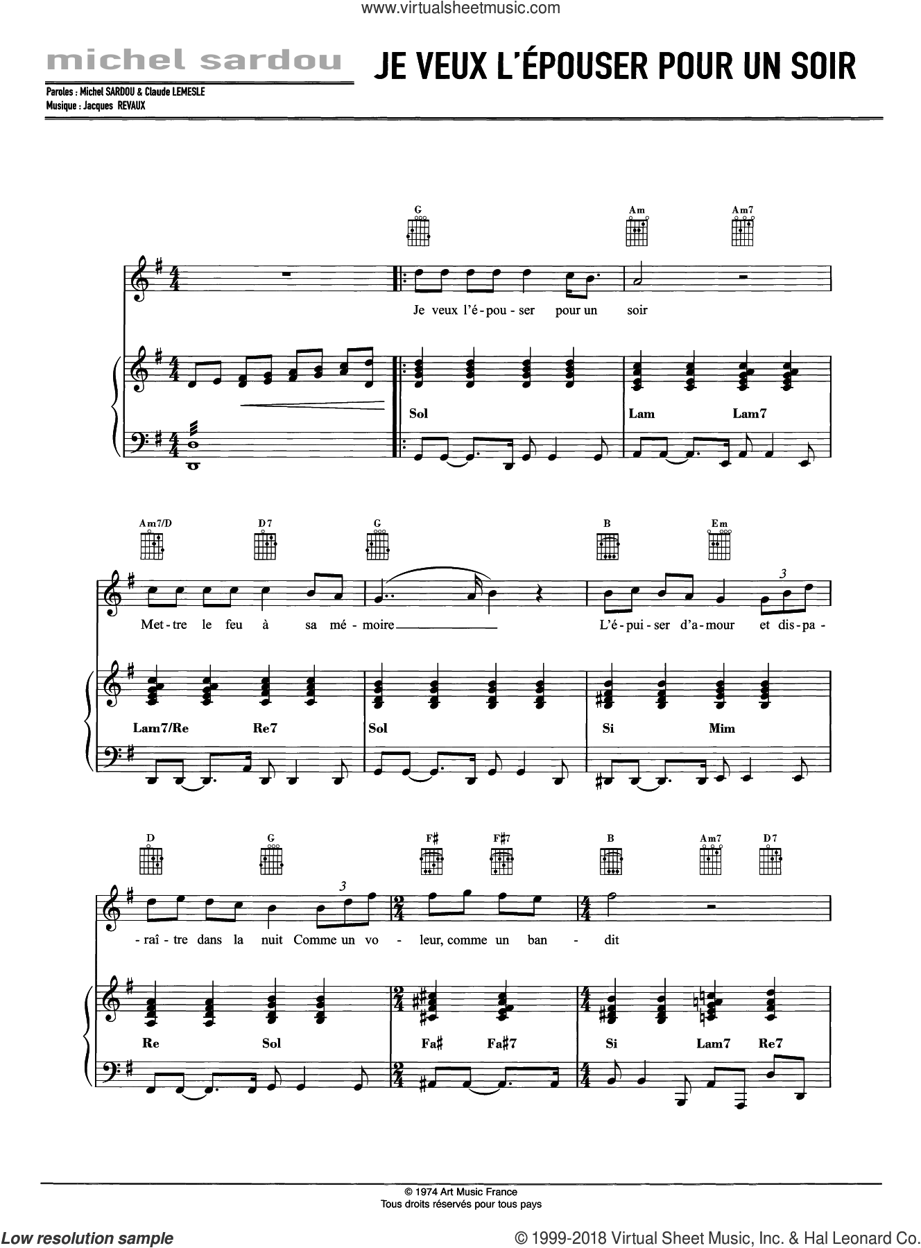 Je Veux L'Epouser Pour Un Soir sheet music for voice, piano or guitar by Michel Sardou and Jacques Revaux, intermediate skill level