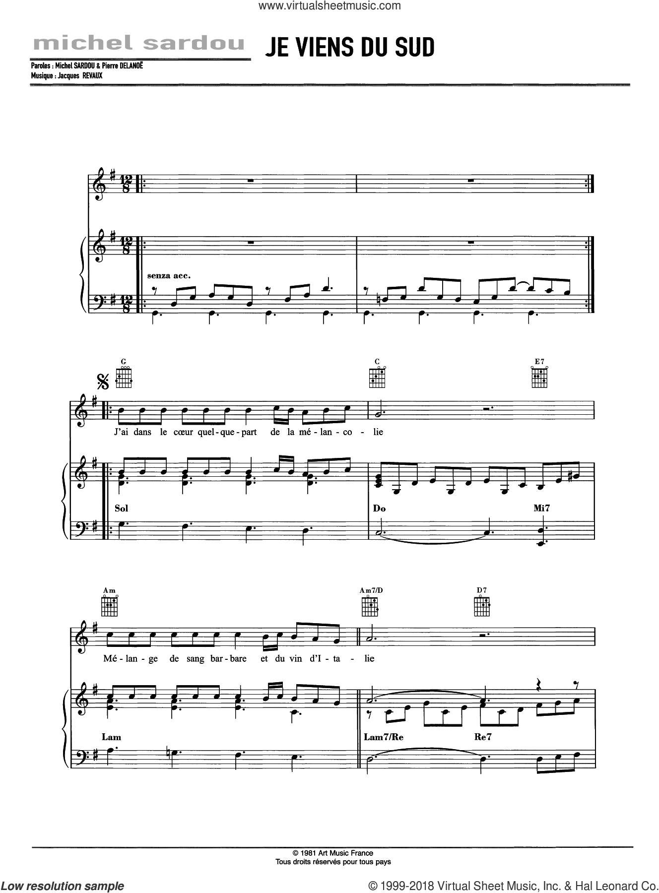 Je Viens Du Sud sheet music for voice, piano or guitar by Michel Sardou and Jacques Revaux, intermediate skill level