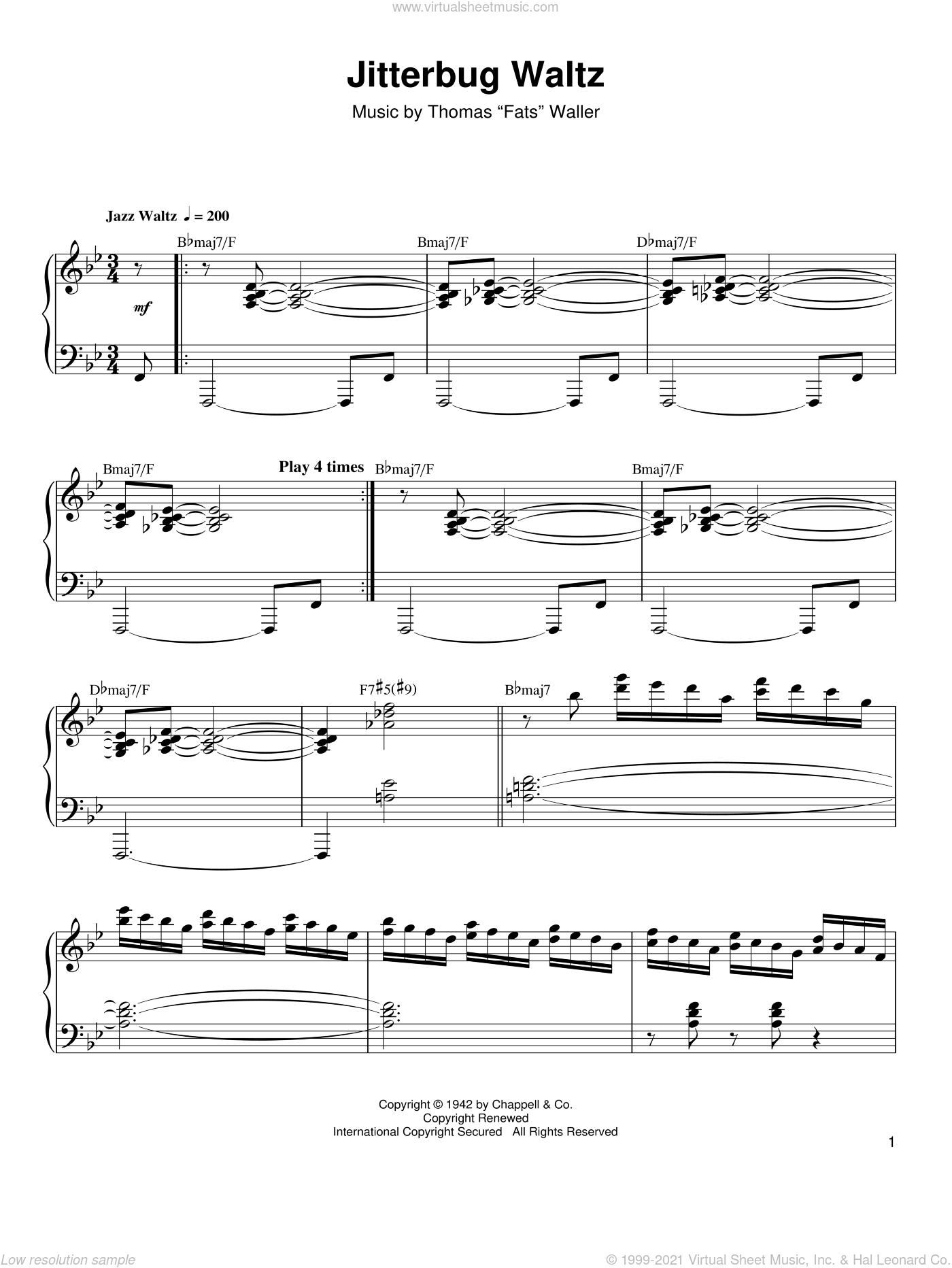 Jitterbug Waltz sheet music for piano solo (transcription) by Oscar Peterson and Thomas Waller and Thomas Waller, intermediate piano (transcription)