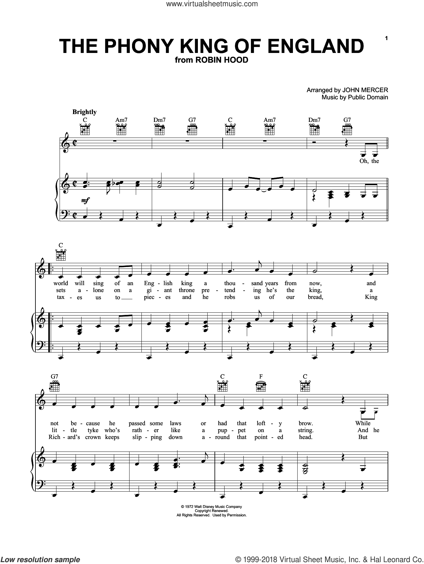 The Phony King Of England sheet music for voice, piano or guitar by John Mercer, John Mercer (arr.) and Public Domain, intermediate skill level