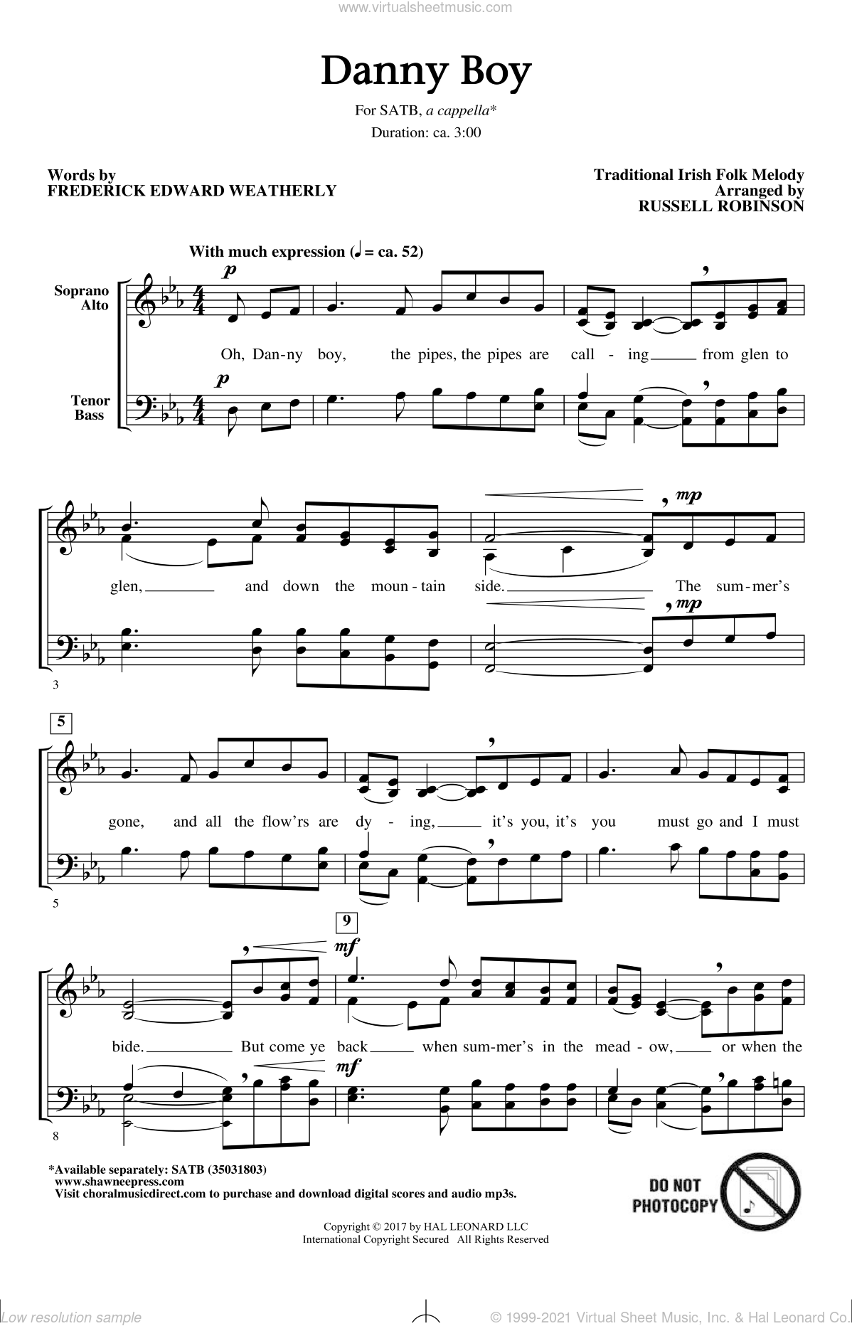 Danny Boy (arr. Russell Robinson) sheet music for choir (SATB: soprano, alto, tenor, bass) by Russell Robinson, Miscellaneous, Frederick Edward Weatherly and Traditional Irish, intermediate skill level