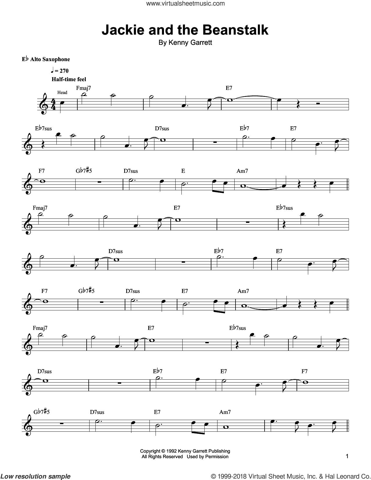 Jackie And The Beanstalk sheet music for alto saxophone (transcription) by Kenny Garrett, intermediate skill level