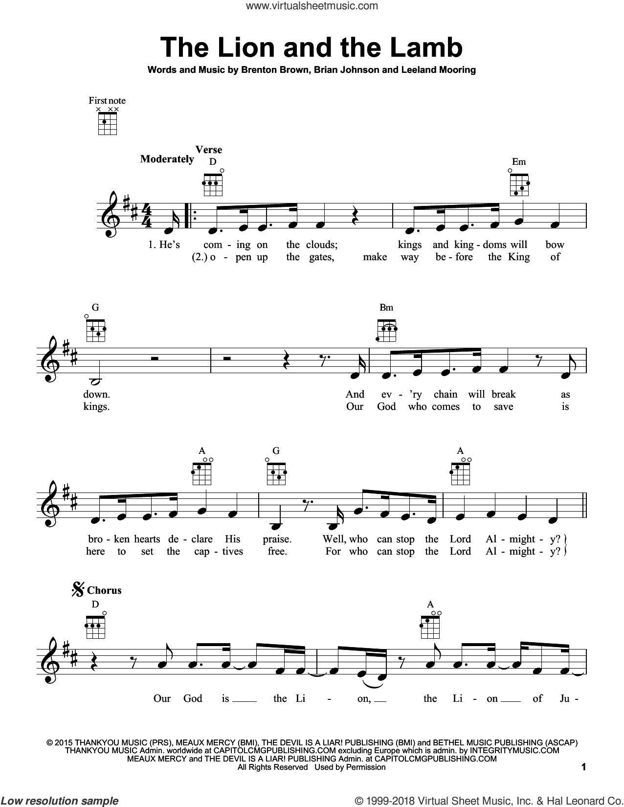 The Lion And The Lamb sheet music for ukulele by Big Daddy Weave, Brenton Brown, Brian Johnson and Leeland Mooring, intermediate skill level