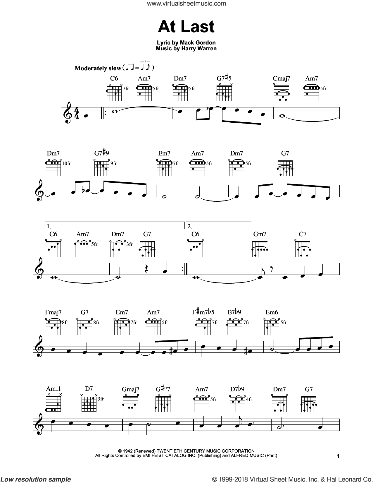 At Last sheet music for guitar solo (chords) by Harry Warren, Celine Dion, Etta James and Mack Gordon, easy guitar (chords)