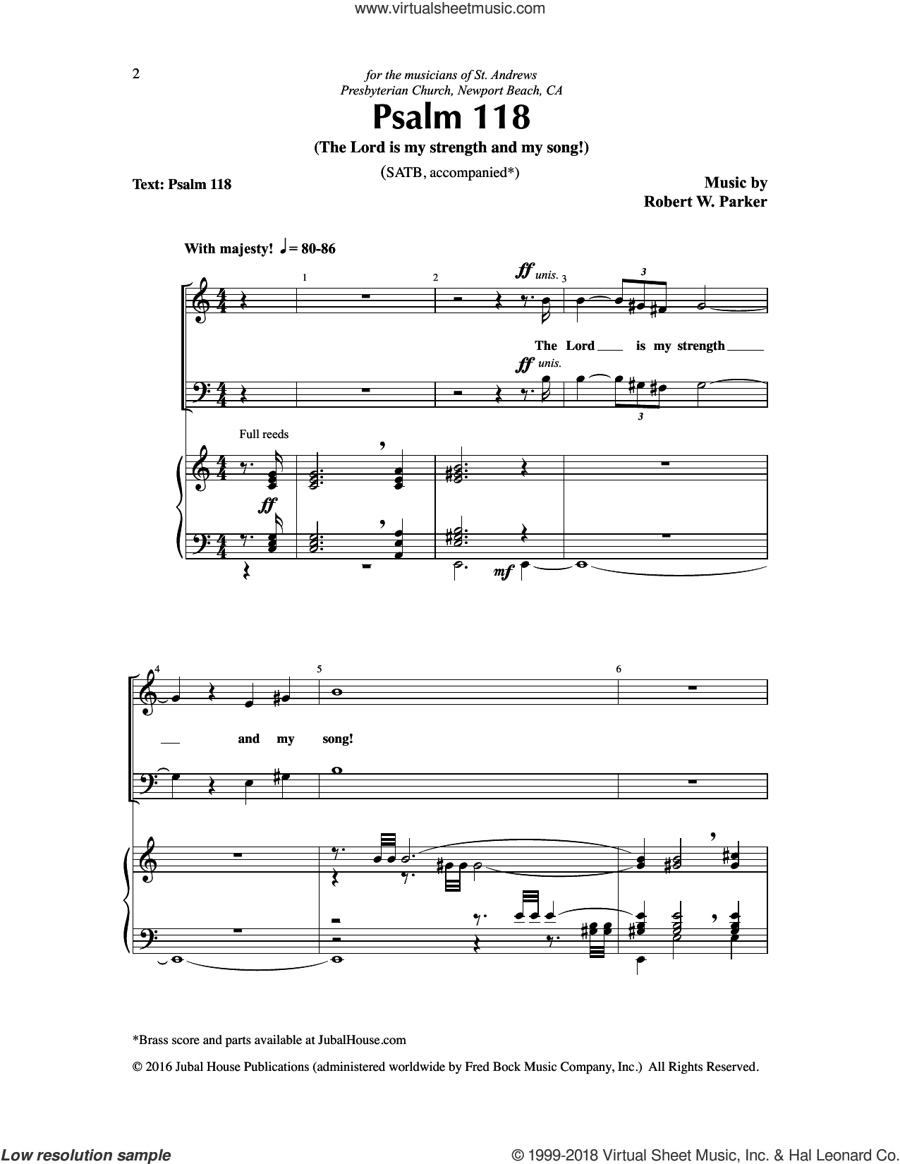 Psalm 118 (The Lord is my strength and my song!) sheet music for choir (SATB: soprano, alto, tenor, bass) by Robert W. Parker, intermediate skill level