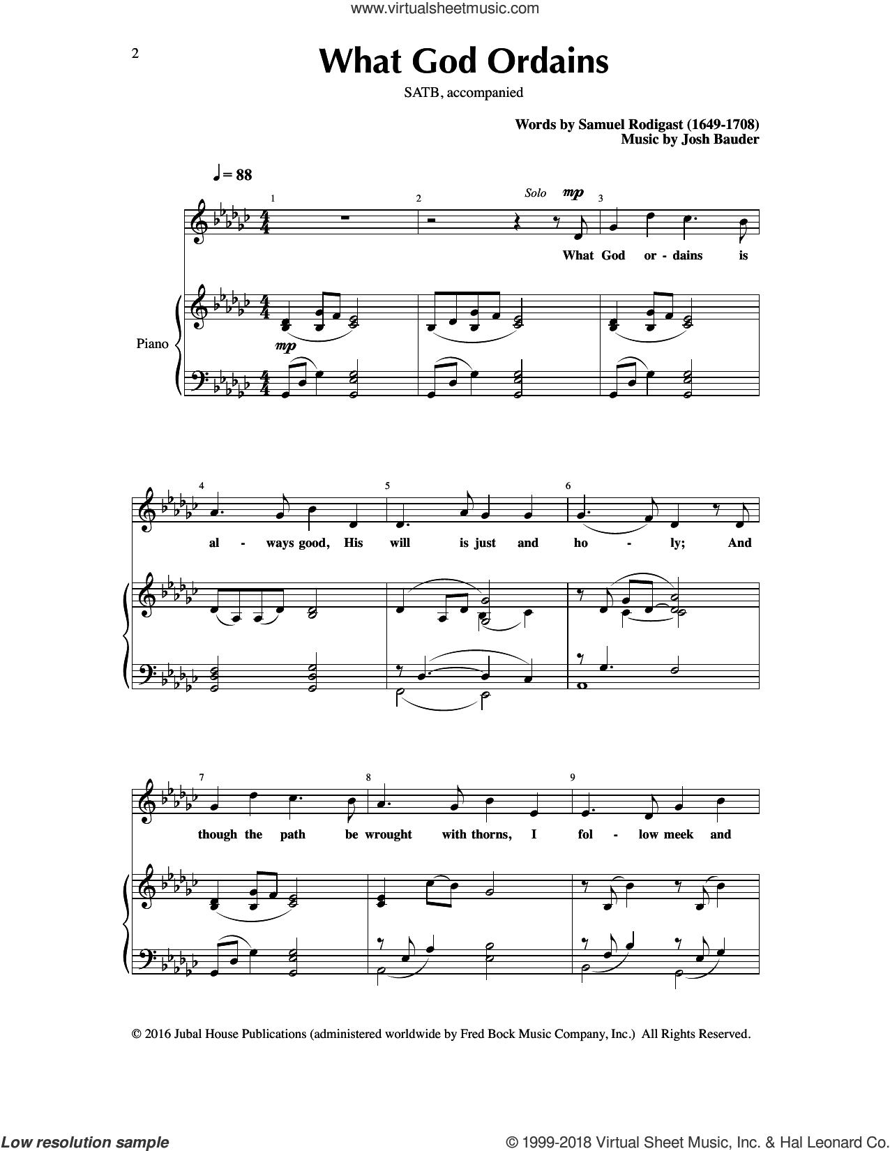 What God Ordains sheet music for choir (SATB: soprano, alto, tenor, bass) by Josh Bauder and Samuel Rodigast, intermediate skill level