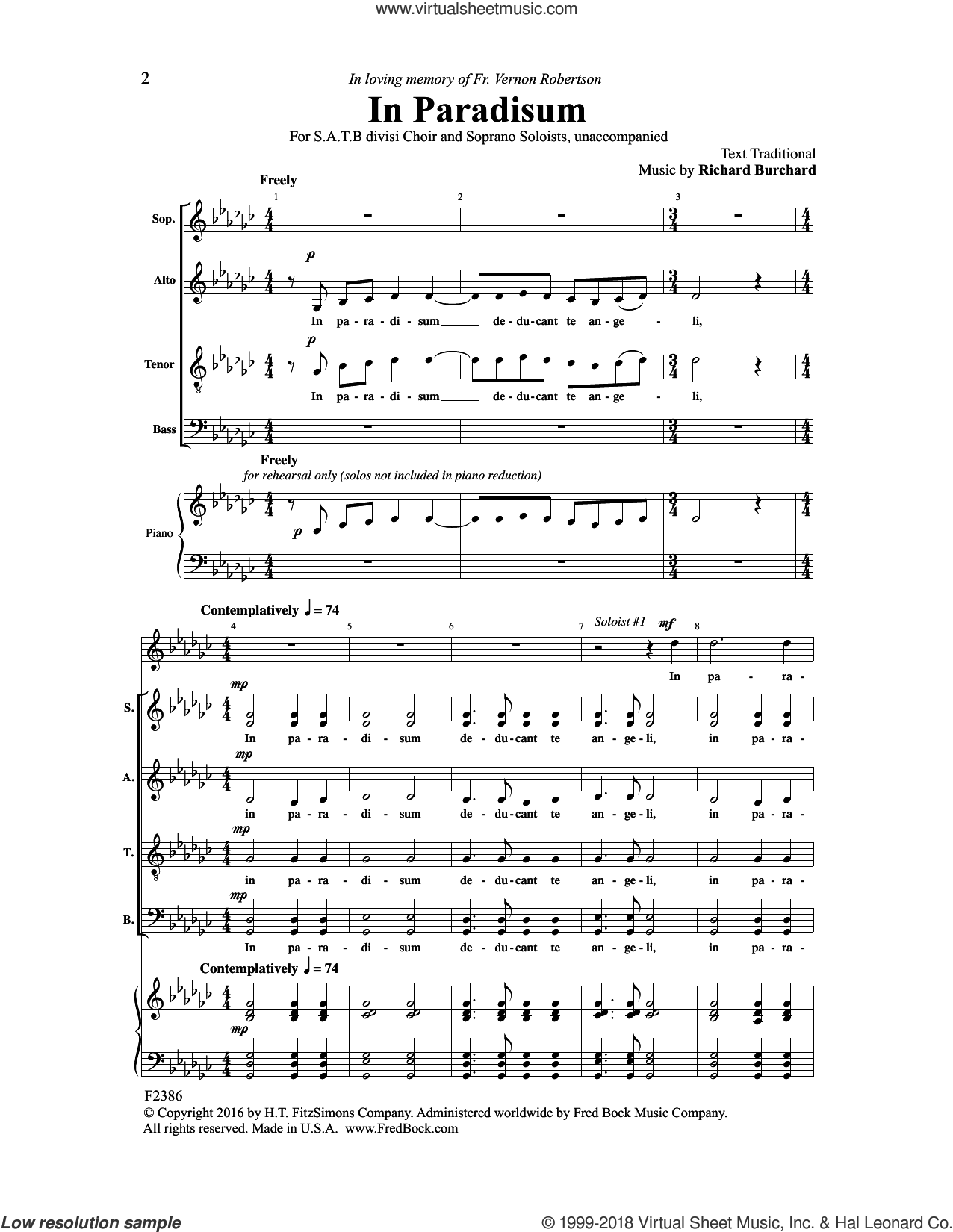 In Paradisum sheet music for choir (SATB: soprano, alto, tenor, bass) by Richard Burchard, intermediate skill level