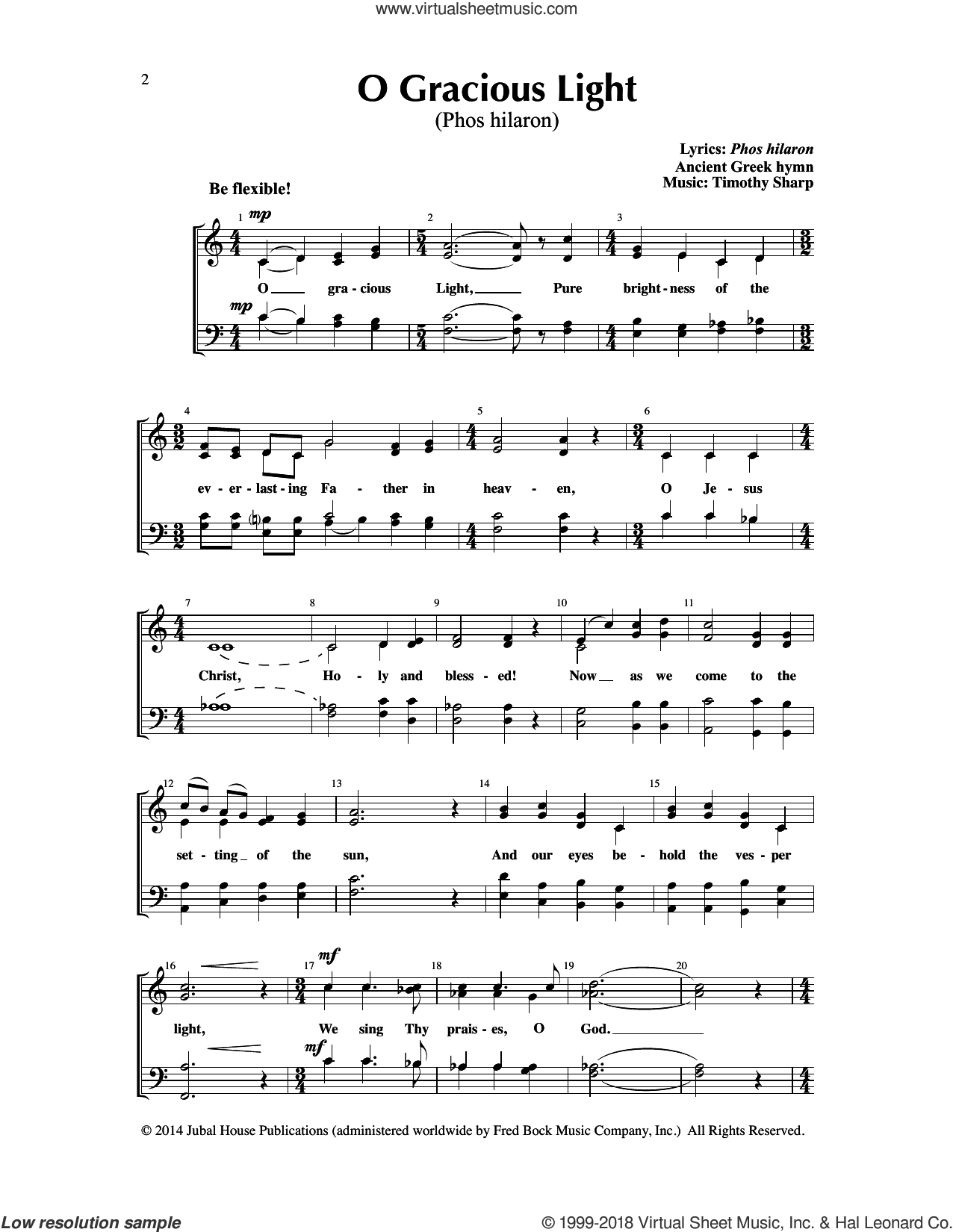 O Gracious Light (Phos hilaron)/Lux Christi (Light of Christ) sheet music for choir (SATB: soprano, alto, tenor, bass) by Edwin M. Willmington and Timothy Sharp, intermediate skill level
