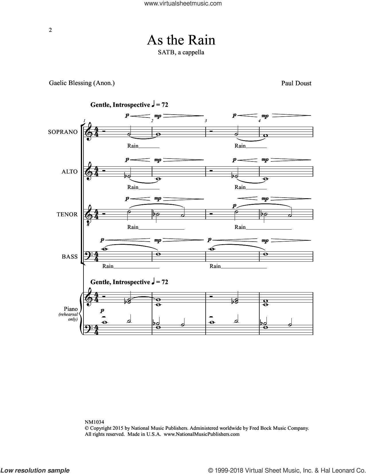 As the Rain sheet music for choir by Paul Doust, intermediate skill level