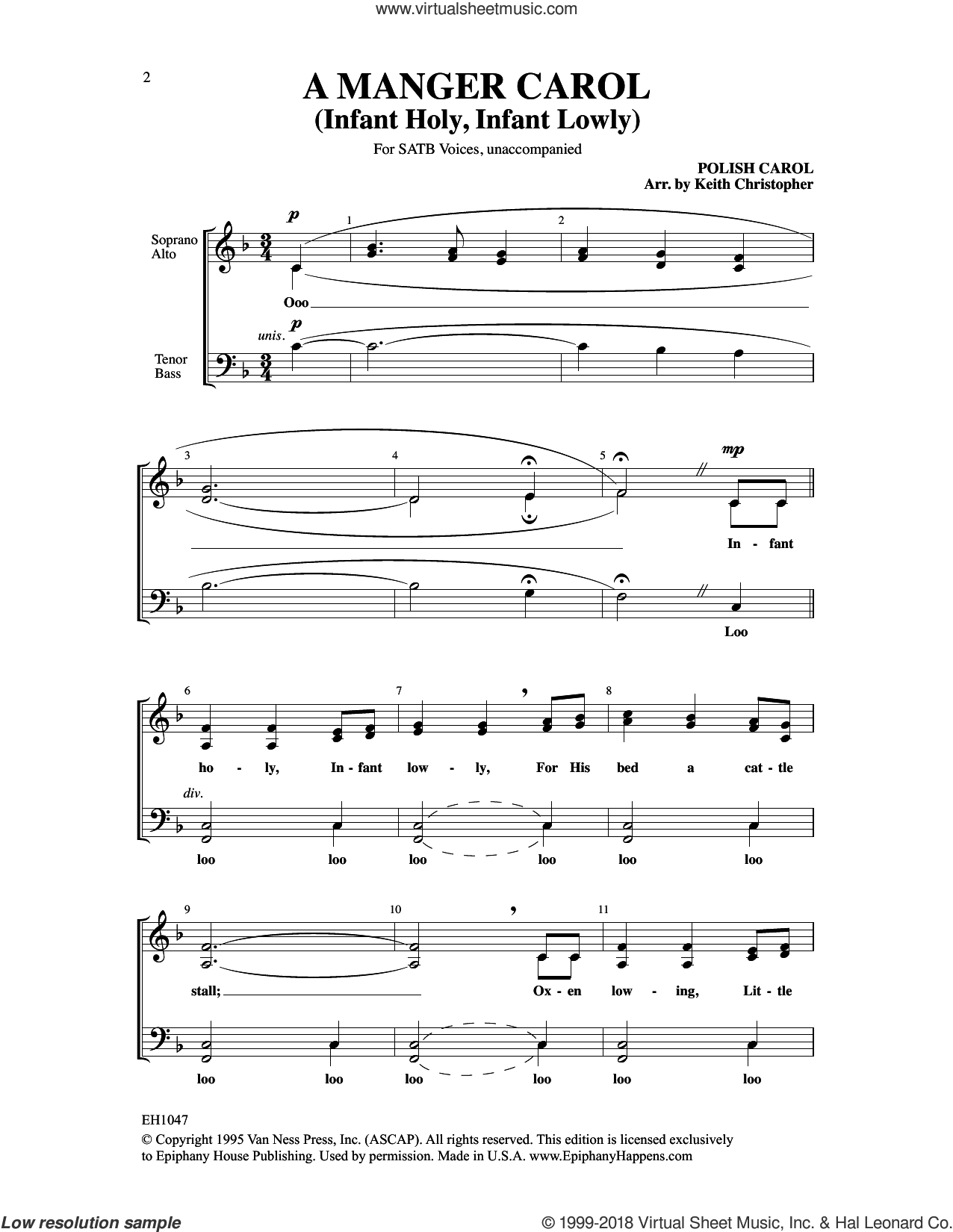 A Manger Carol (Infant Holy, Infant Lowly) sheet music for choir by Keith Christopher, intermediate skill level