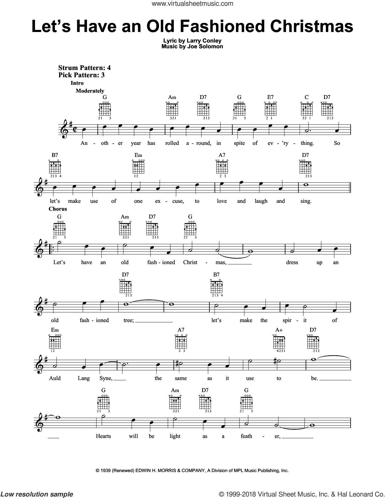 Let's Have An Old Fashioned Christmas sheet music for guitar solo (chords) by Larry Conley and Joe Solomon, easy guitar (chords)