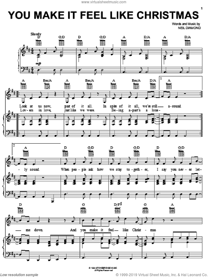 You Make It Feel Like Christmas sheet music for voice, piano or guitar by Neil Diamond, intermediate skill level