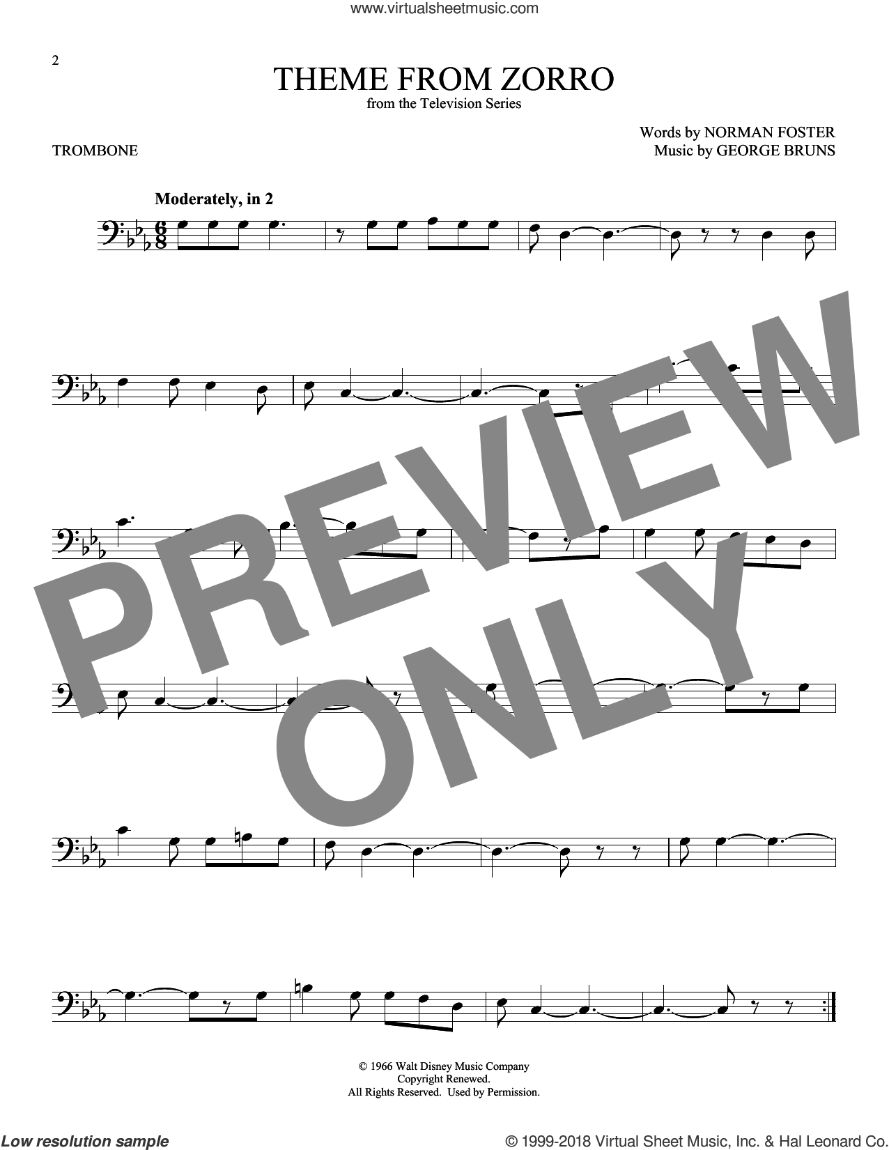 Theme From Zorro sheet music for trombone solo by George Bruns and Norman Foster, intermediate