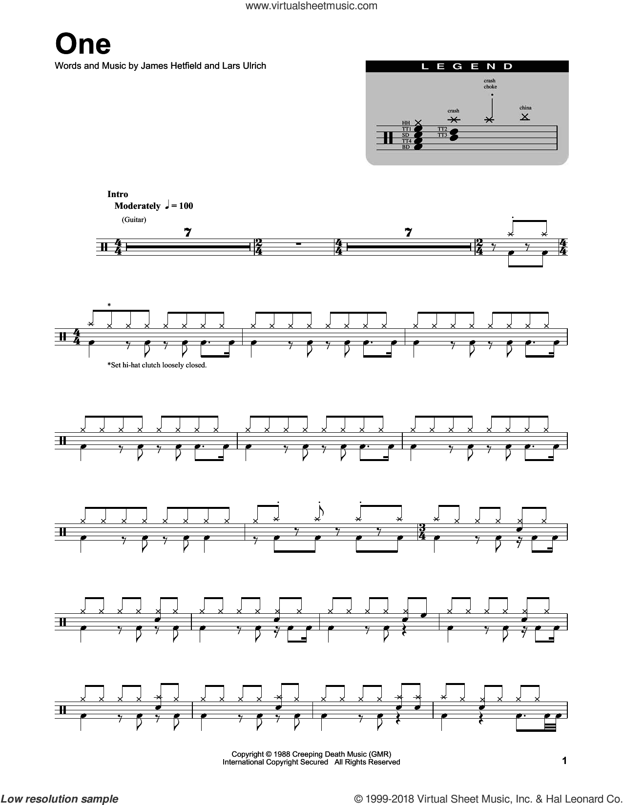 One sheet music for drums by Metallica, James Hetfield and Lars Ulrich, intermediate skill level