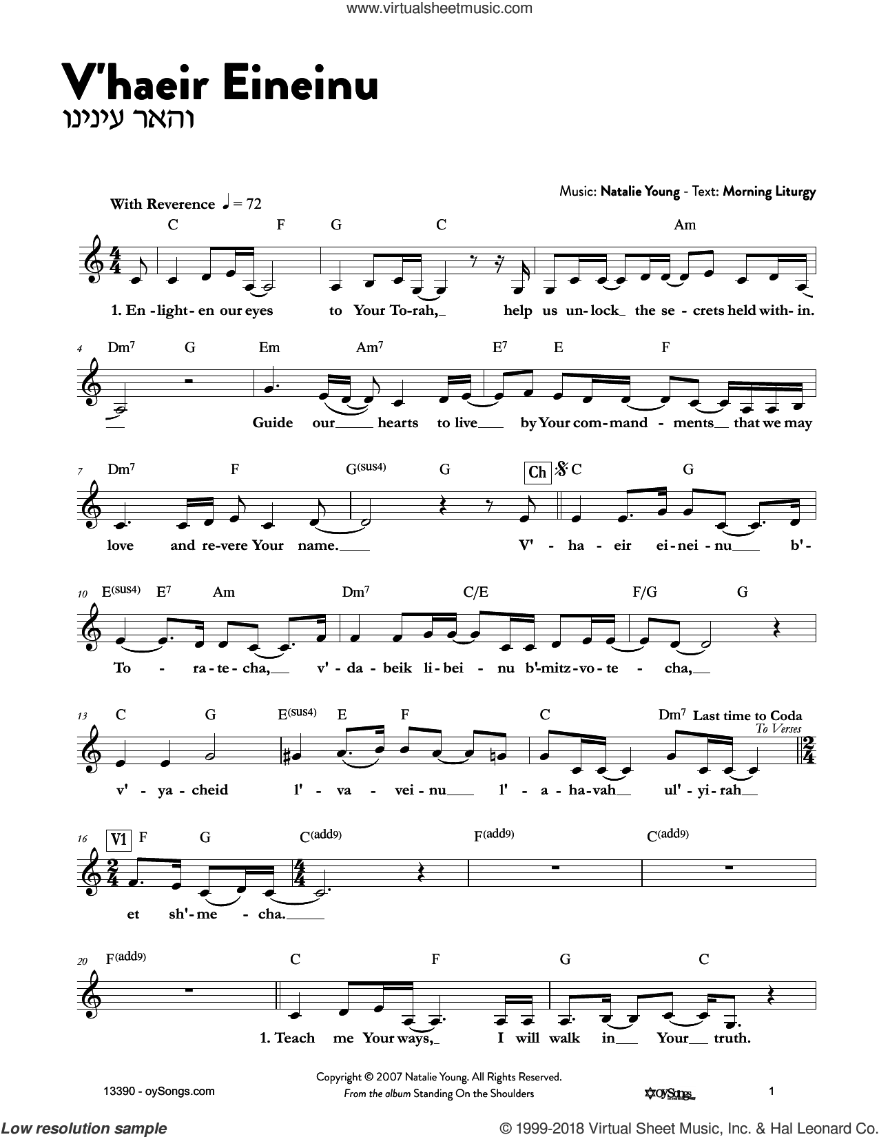 V'haeir Eineinu sheet music for voice and other instruments (fake book) by Natalie Young, intermediate skill level