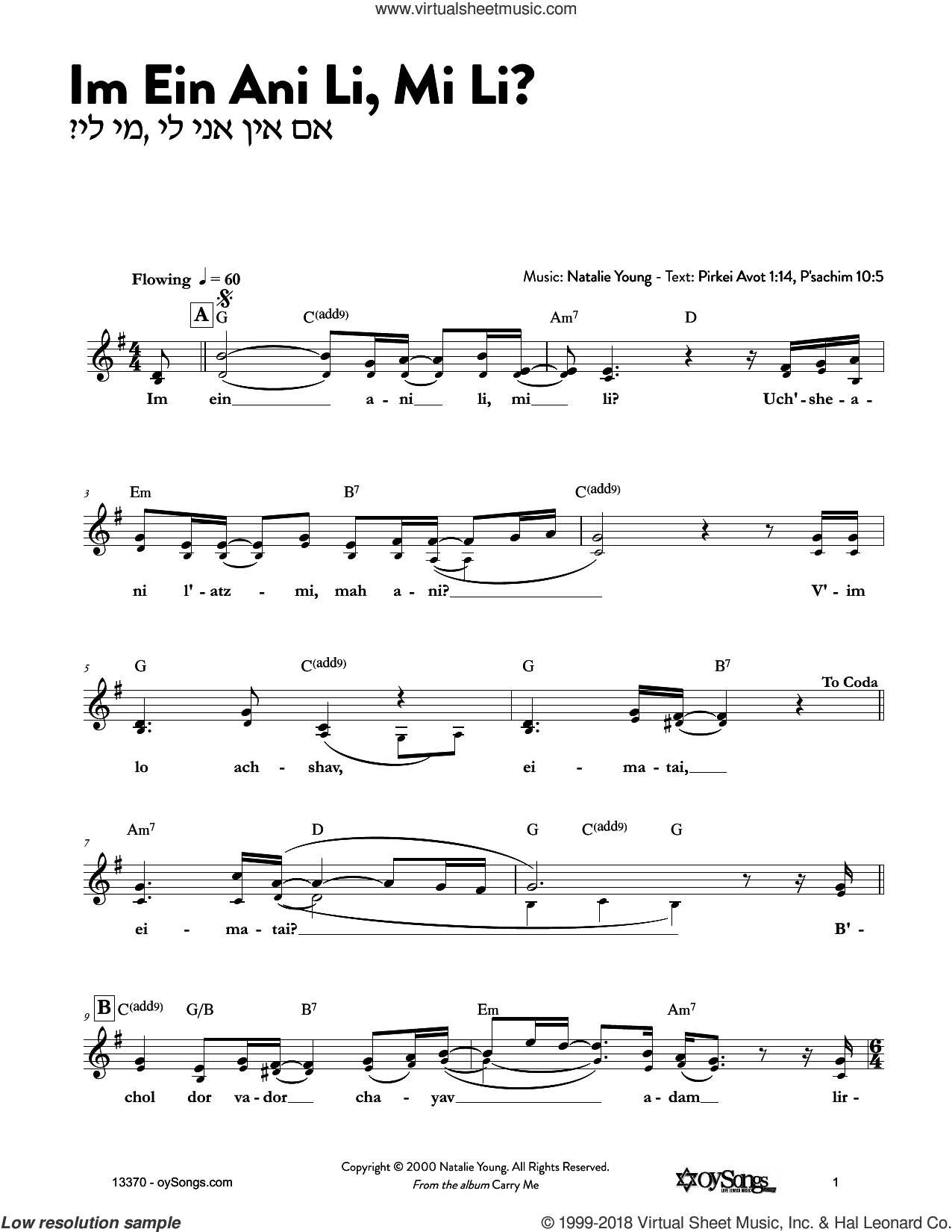 Im Ein Ani Li Mi Li sheet music for voice and other instruments (fake book) by Natalie Young, intermediate skill level
