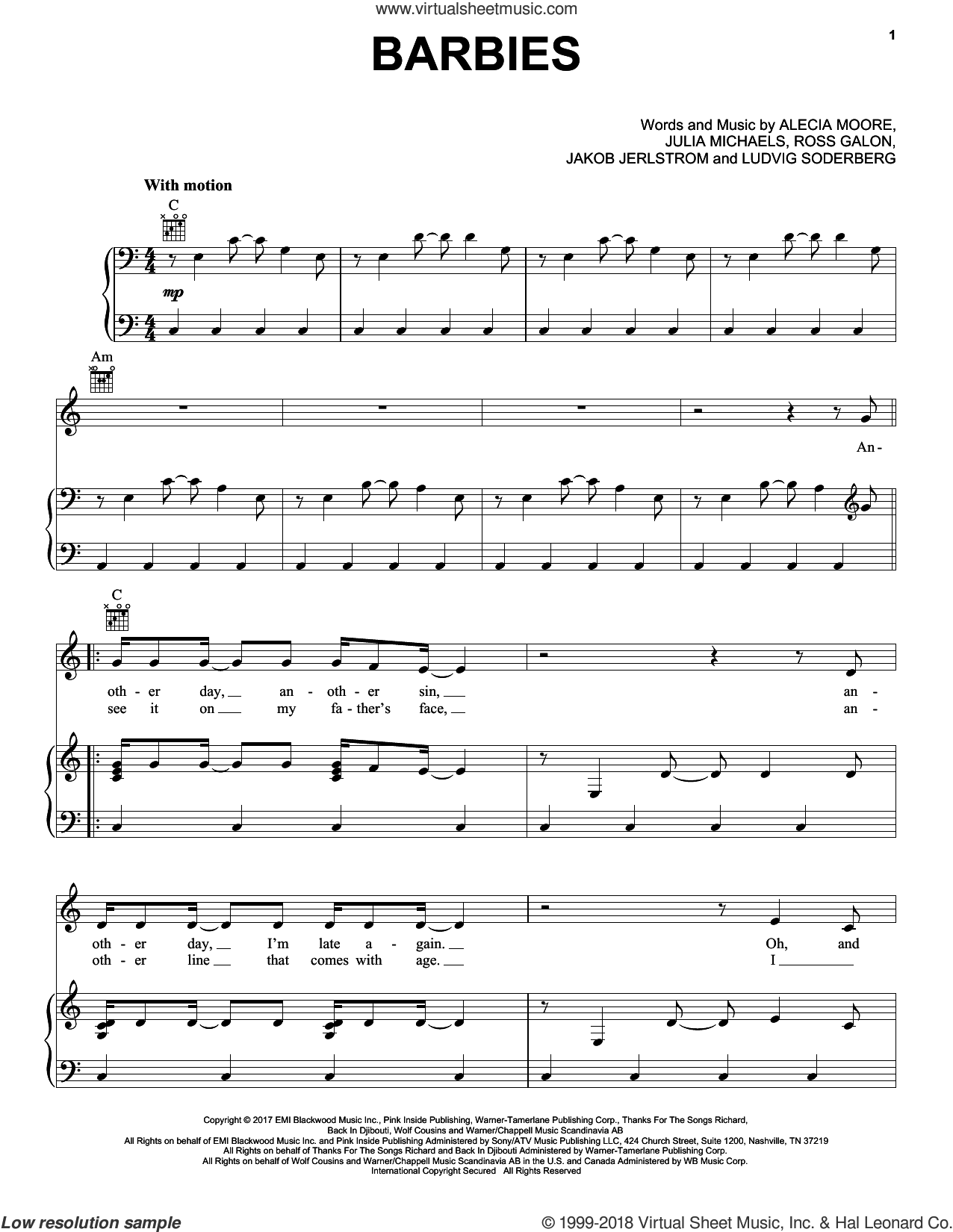 Barbies sheet music for voice, piano or guitar by Julia Michaels, Miscellaneous, Alecia Moore, Jakob Jerlstrom, Ludvig Soderberg and Ross Galon, intermediate skill level