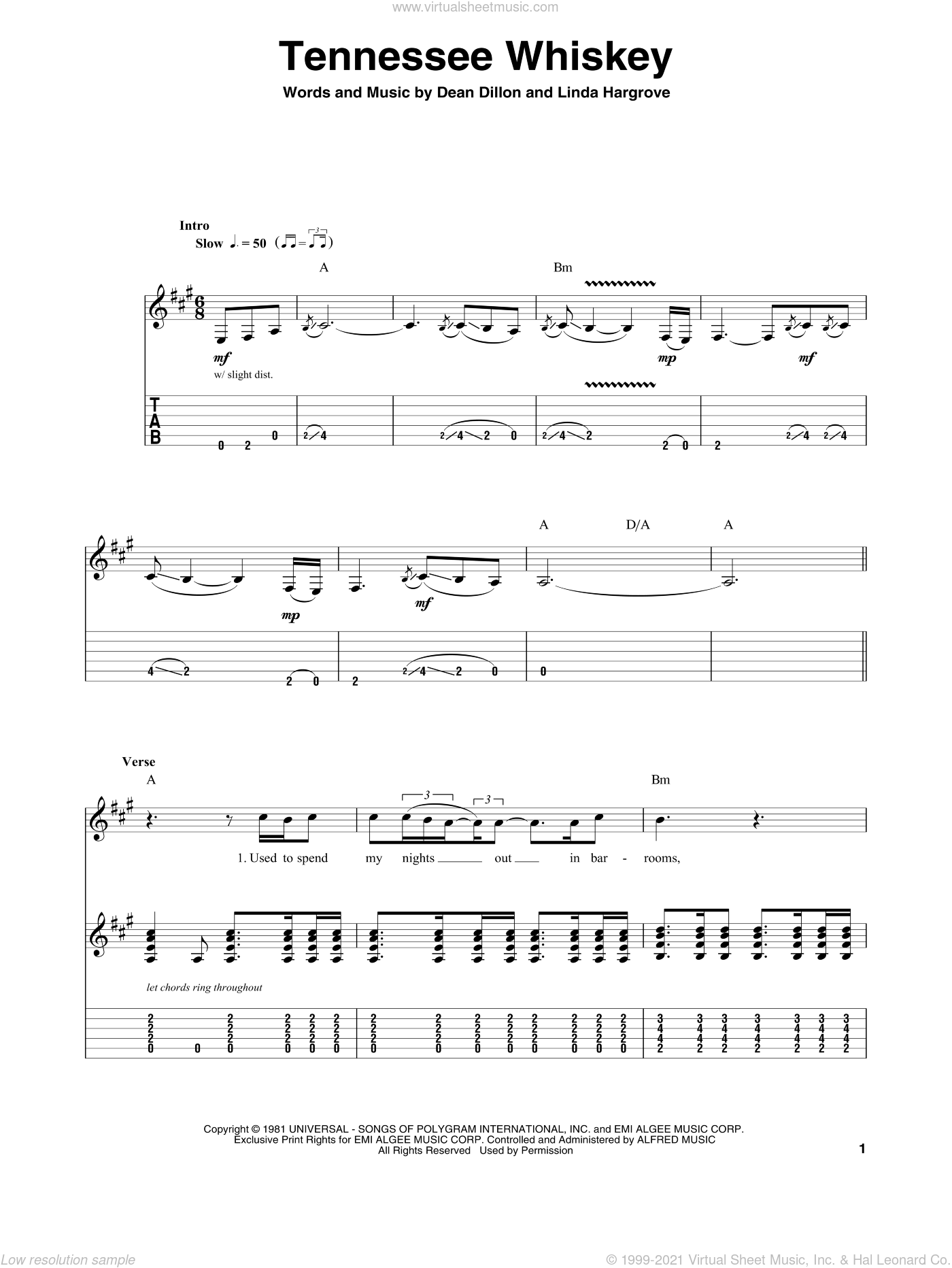 Tennessee Whiskey sheet music for guitar (tablature, play-along) by Chris Stapleton, George Jones, Dean Dillon and Linda Hargrove, intermediate skill level