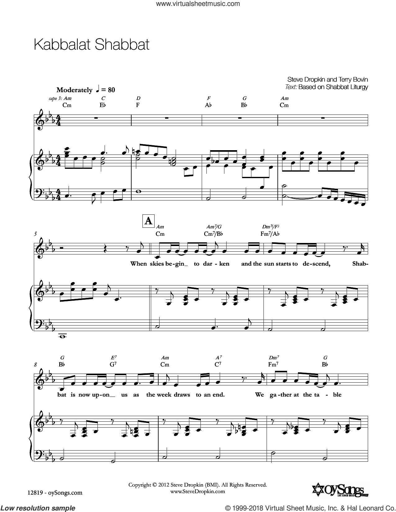 Kabbalat Shabbat sheet music for voice, piano or guitar by Steve Dropkin, intermediate skill level