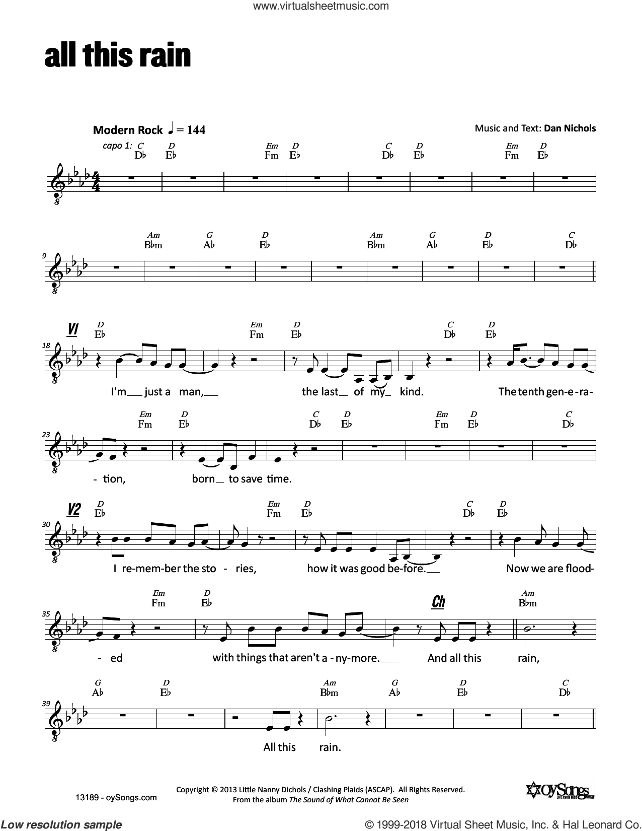 All This Rain sheet music for voice and other instruments (fake book) by Dan Nichols, intermediate skill level