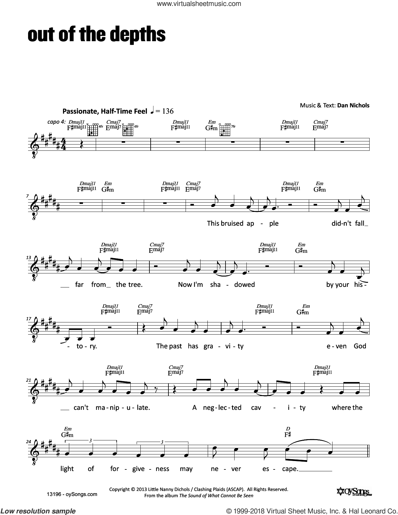 Out of the Depths sheet music for voice and other instruments (fake book) by Dan Nichols, intermediate skill level