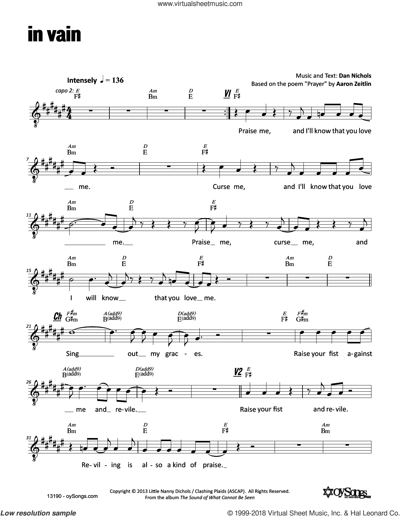 In Vain sheet music for voice and other instruments (fake book) by Dan Nichols, intermediate skill level