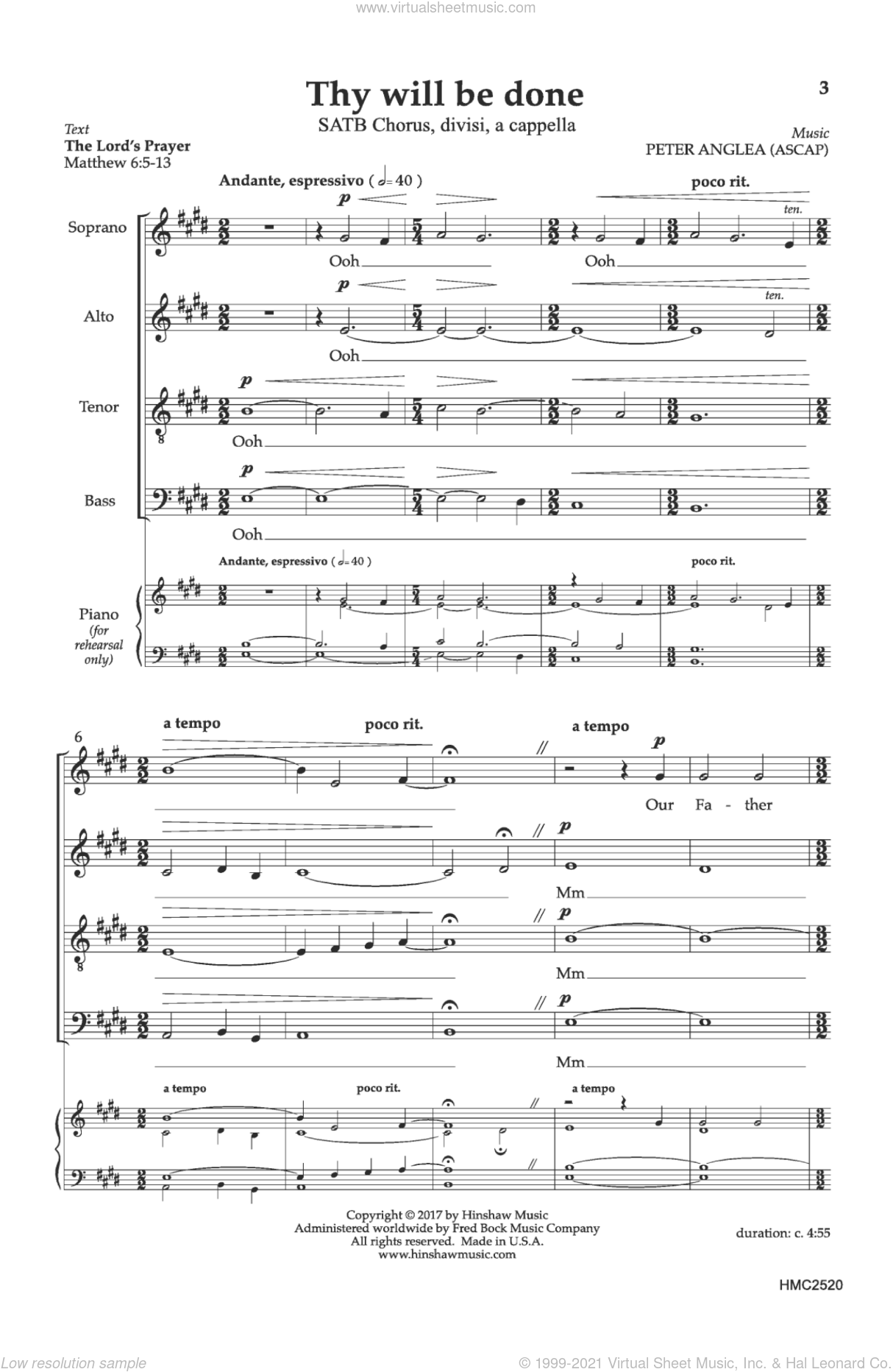 Thy Will Be Done sheet music for choir by Peter Anglea, intermediate skill level