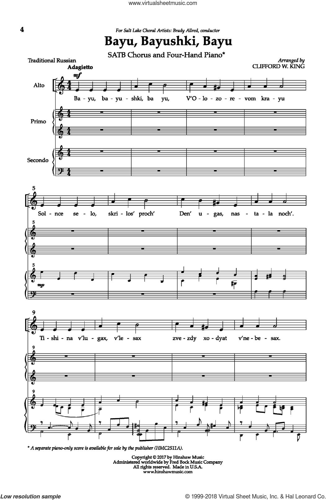 Bayu, Bayushki, Bayu sheet music for choir by Clifford W. King and Andre de Quadros, intermediate skill level