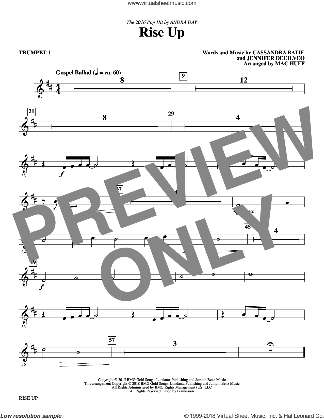 Rise Up (arr. Mac Huff) sheet music for orchestra/band (trumpet 1) by Mac Huff, Andra Day, Cassandra Batie and Jennifer Decilveo, intermediate skill level