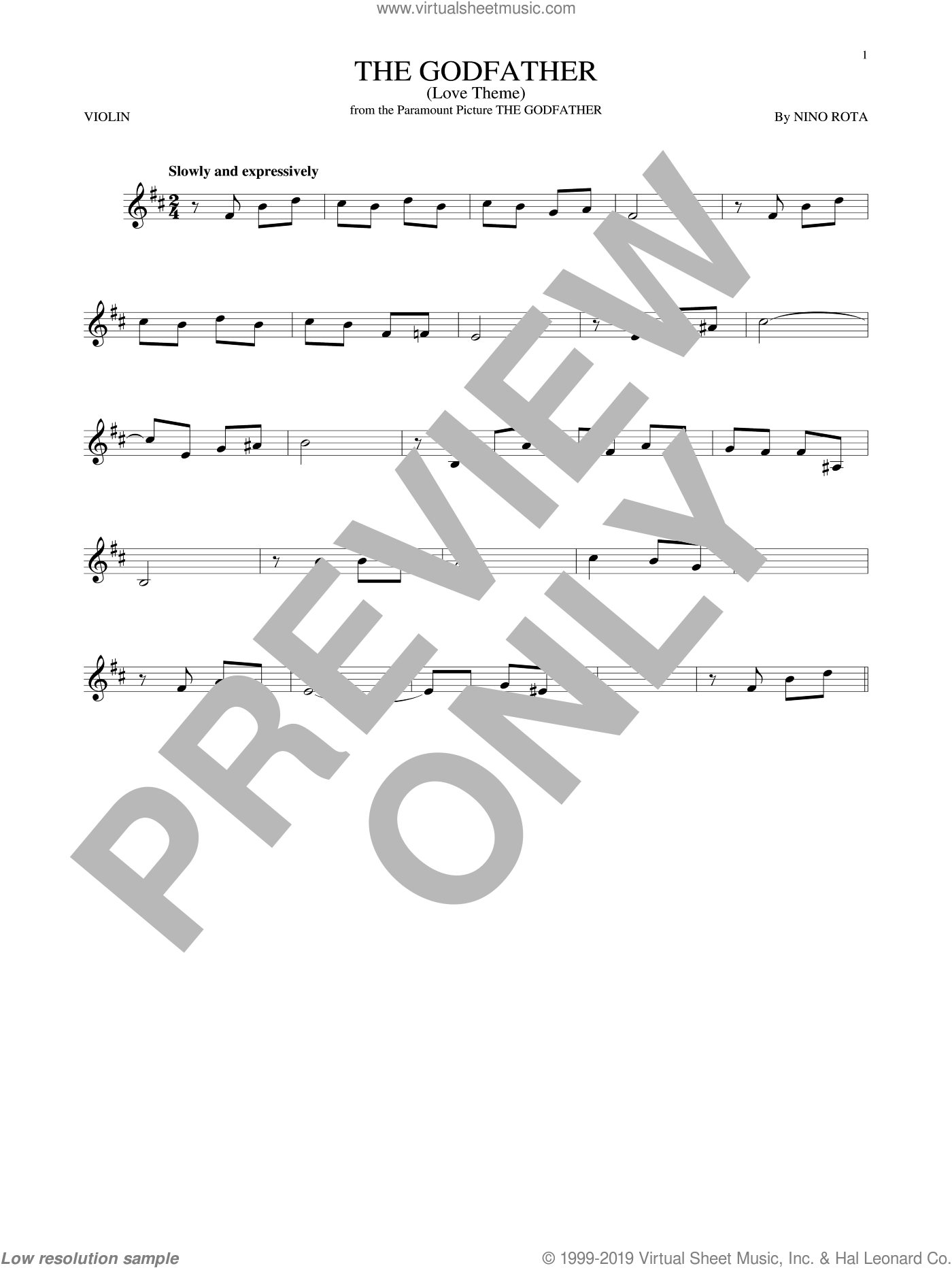 The Godfather (Love Theme) sheet music for violin solo by Nino Rota, intermediate skill level