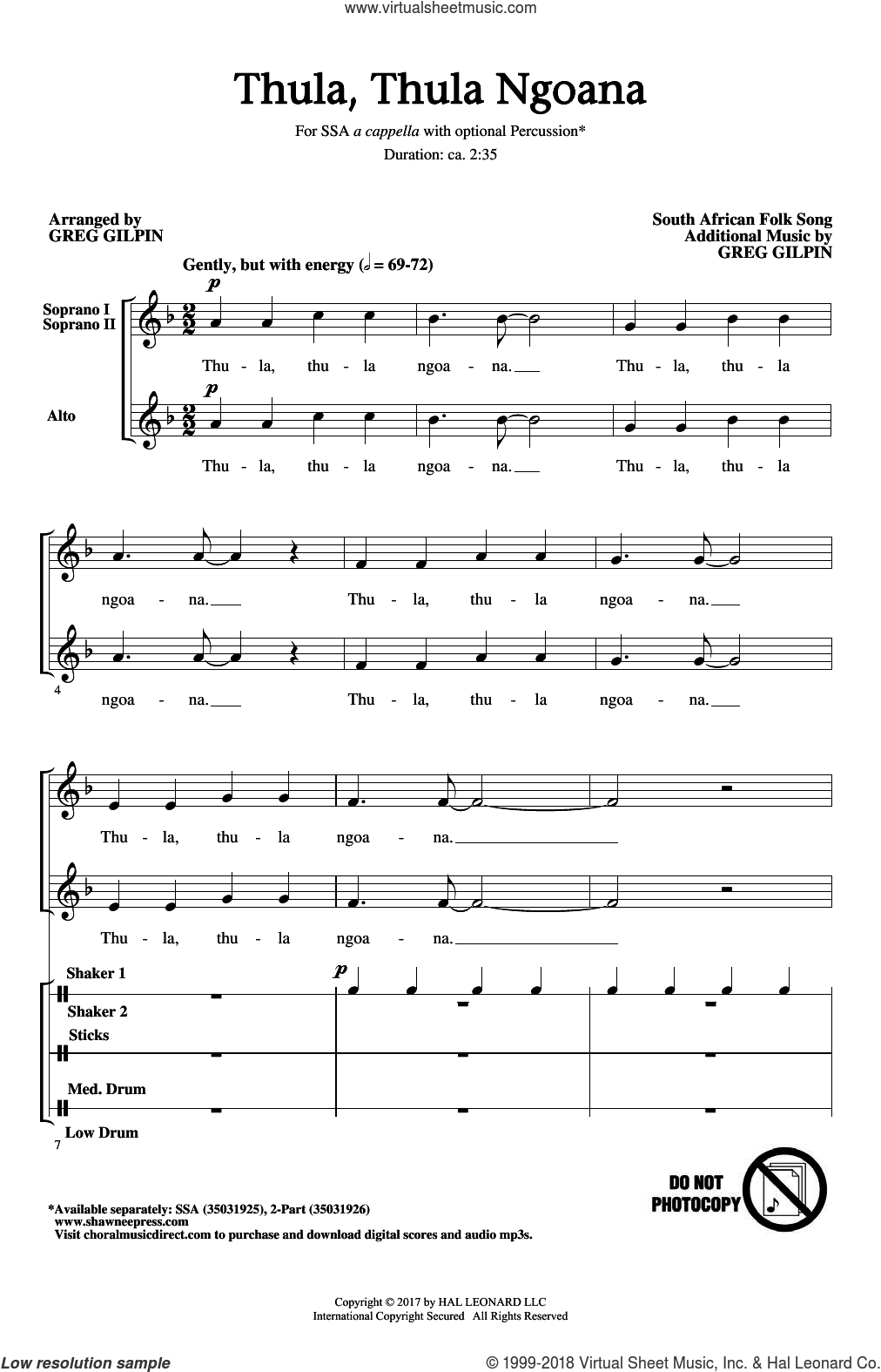 Thula Thula Ngoana sheet music for choir (SSA: soprano, alto) by Greg Gilpin and South African folk song, intermediate skill level