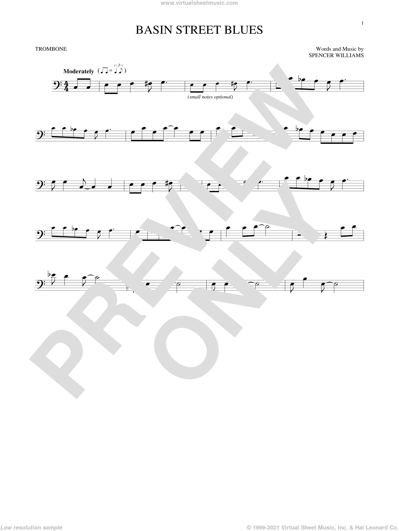 Basin Street Blues sheet music for trombone solo by Spencer Williams, intermediate skill level