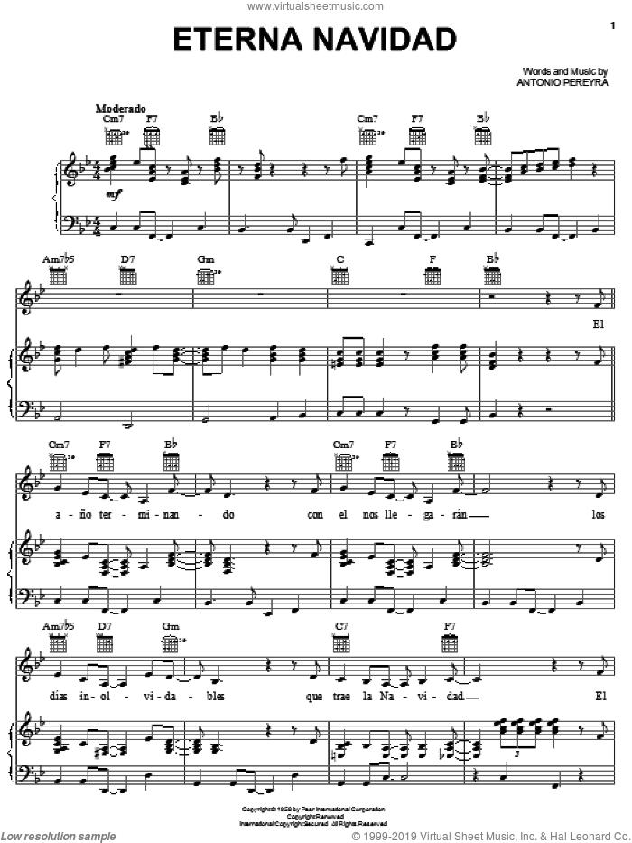 Eterna Navidad sheet music for voice, piano or guitar by Antonio Pereyra, intermediate skill level
