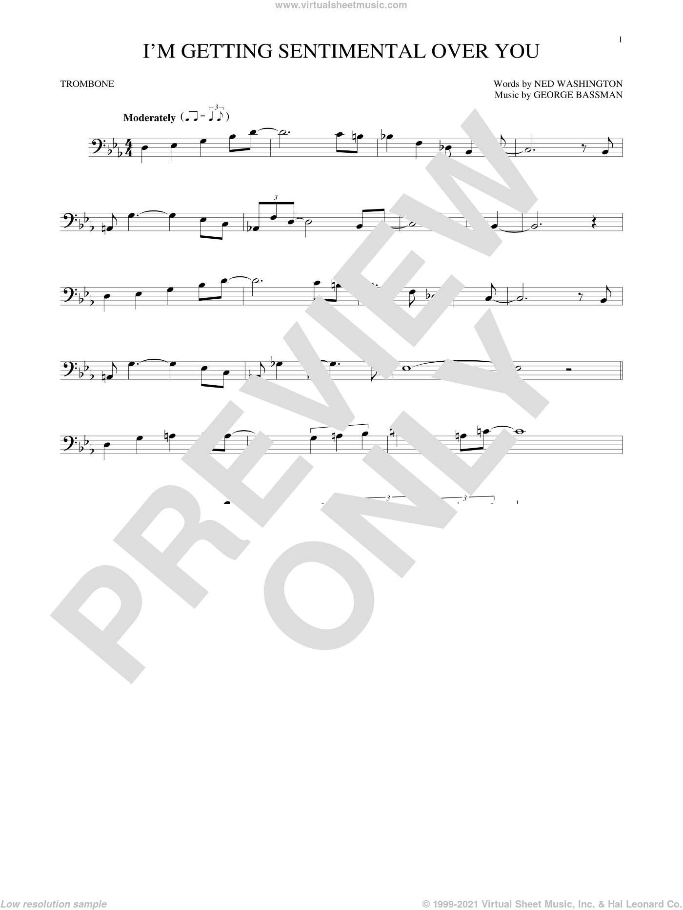 I'm Getting Sentimental Over You sheet music for trombone solo by Ned Washington and George Bassman, intermediate skill level