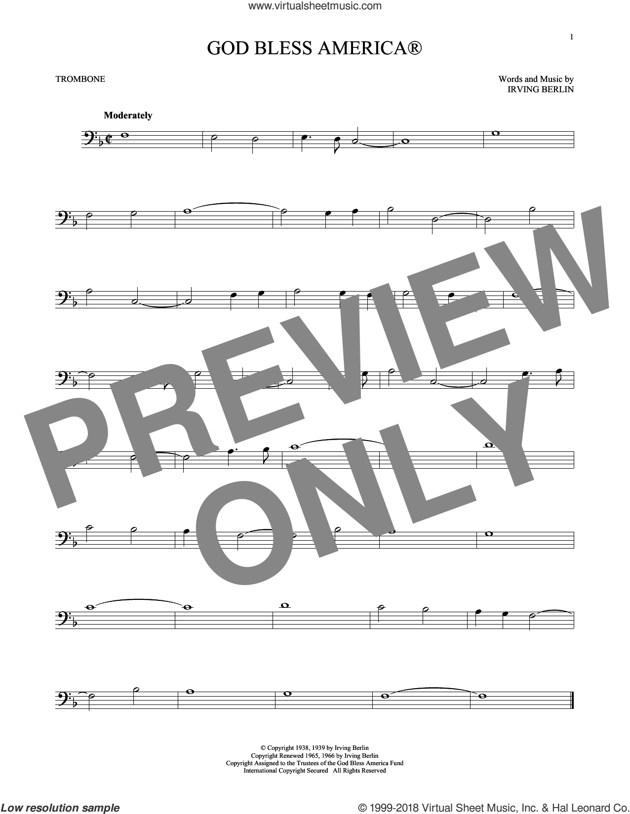 God Bless AmericaA sheet music for trombone solo by Irving Berlin, intermediate skill level