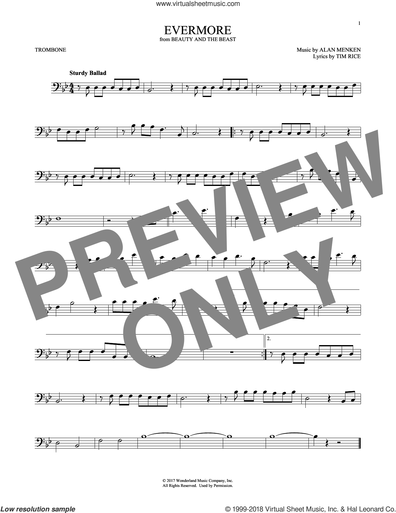 Evermore (from Beauty and the Beast) sheet music for trombone solo by Alan Menken and Tim Rice, intermediate skill level