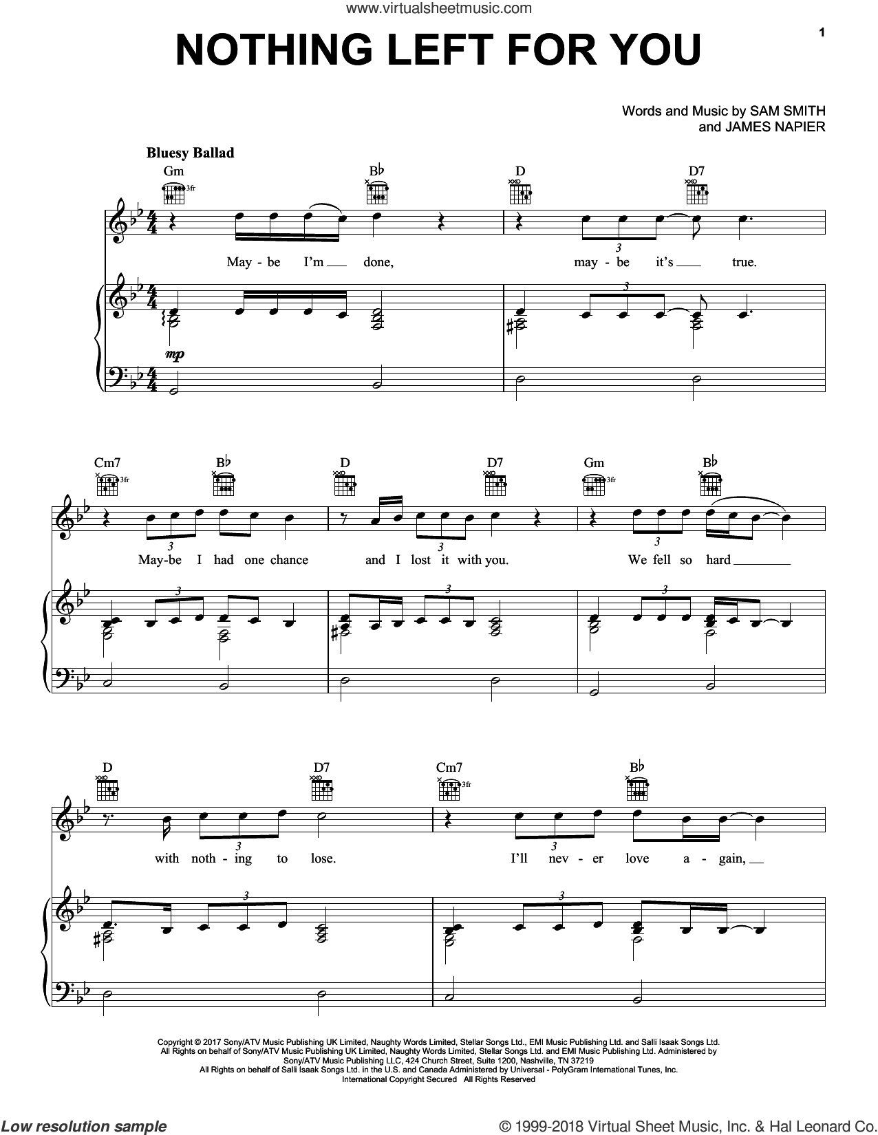 Nothing Left For You sheet music for voice, piano or guitar by Sam Smith and James Napier, intermediate skill level