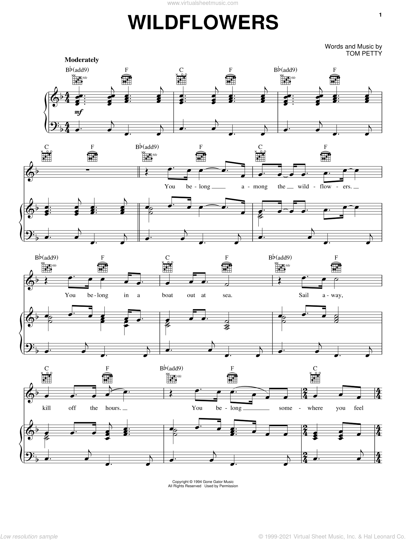 Wildflowers sheet music for voice, piano or guitar by Tom Petty, intermediate skill level