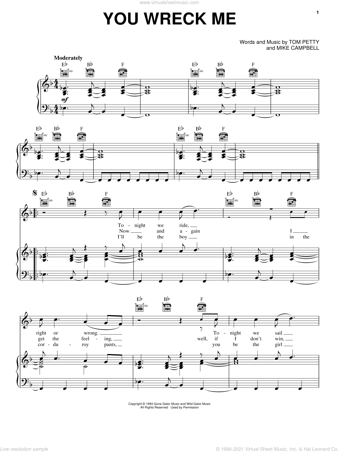 You Wreck Me sheet music for voice, piano or guitar by Tom Petty and Mike Campbell, intermediate skill level