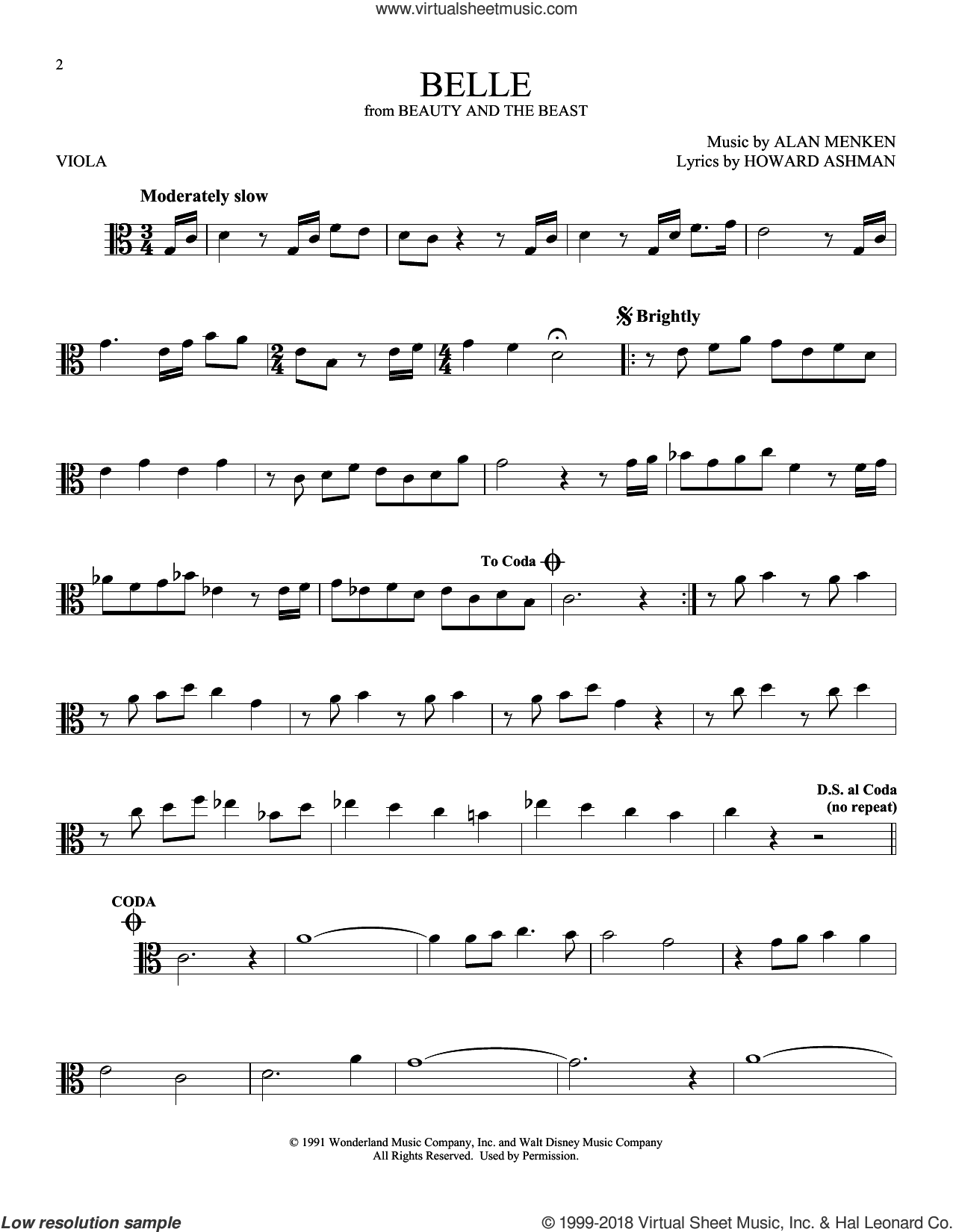 Belle (from Beauty And The Beast) sheet music for viola solo by Alan Menken and Howard Ashman, intermediate skill level