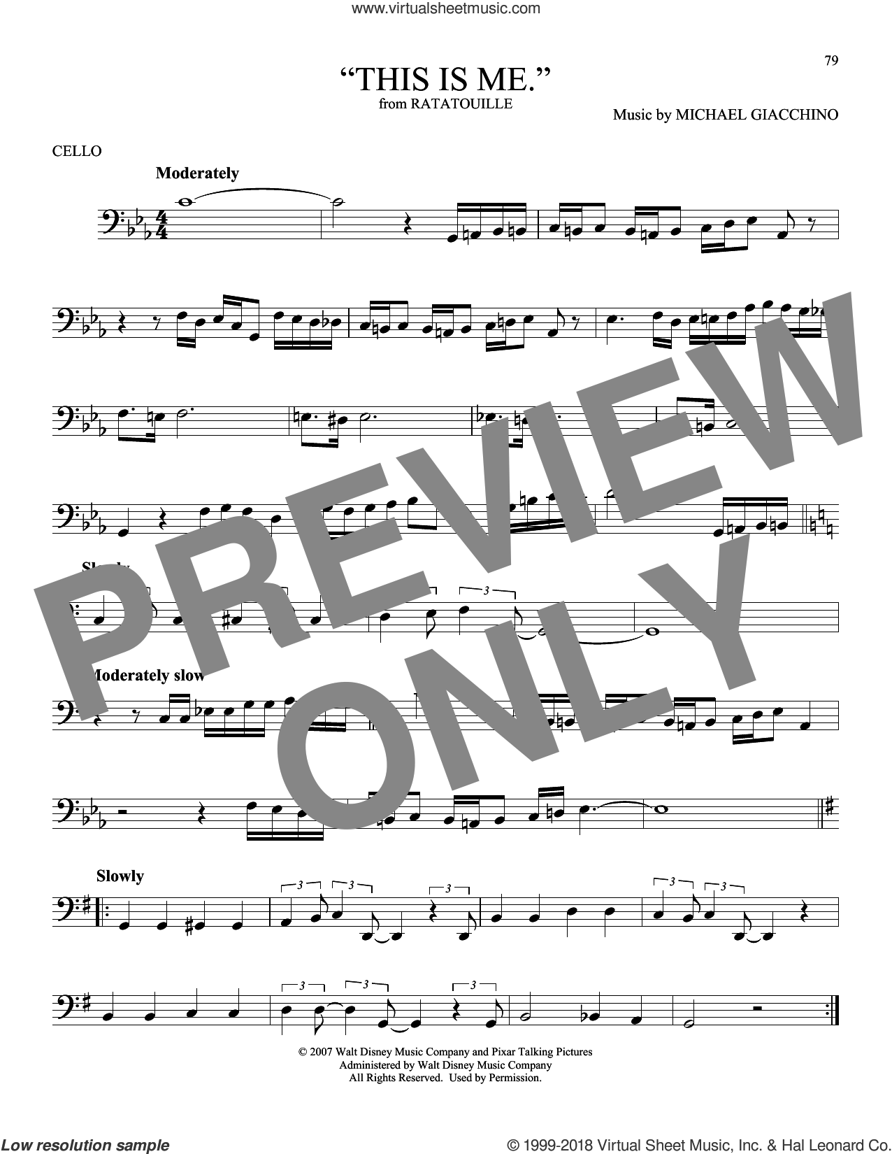 'This is me.' sheet music for cello solo by Michael Giacchino, intermediate skill level