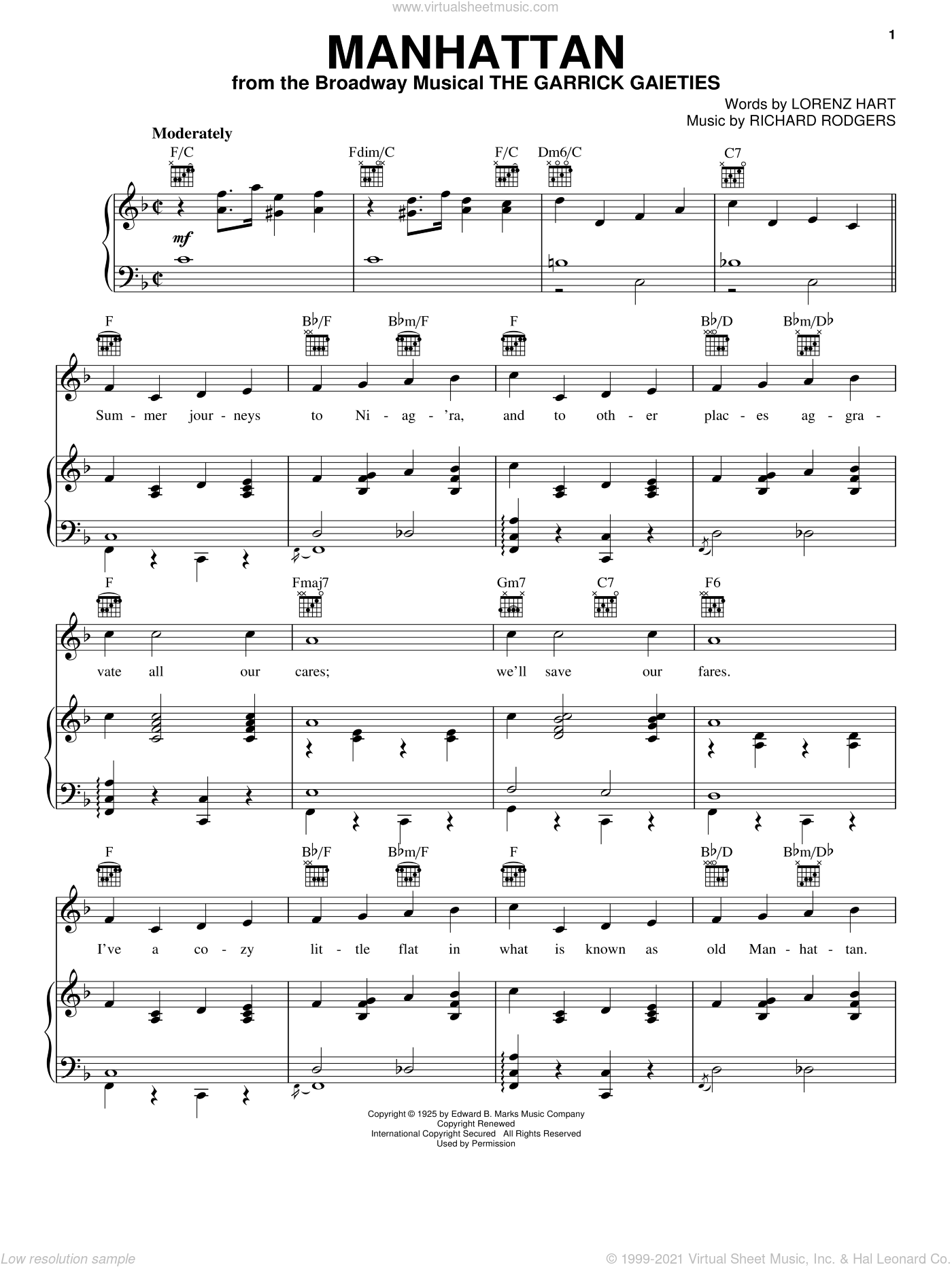 Manhattan sheet music for voice, piano or guitar by Rodgers & Hart, Lorenz Hart and Richard Rodgers, intermediate skill level