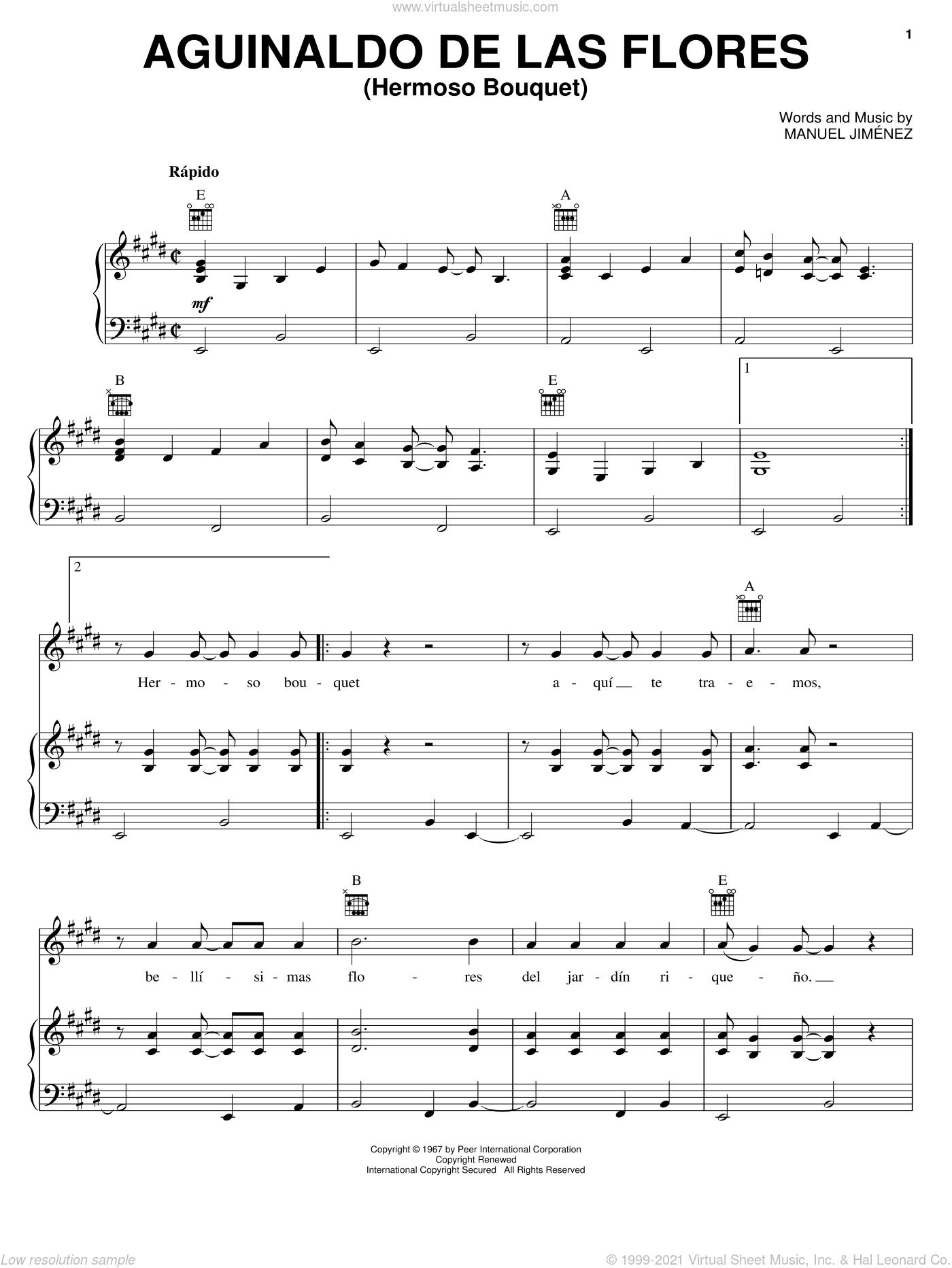 Aguinaldo De Las Flores (Hermoso Bouquet) sheet music for voice, piano or guitar by Manuel Jimenez, intermediate skill level