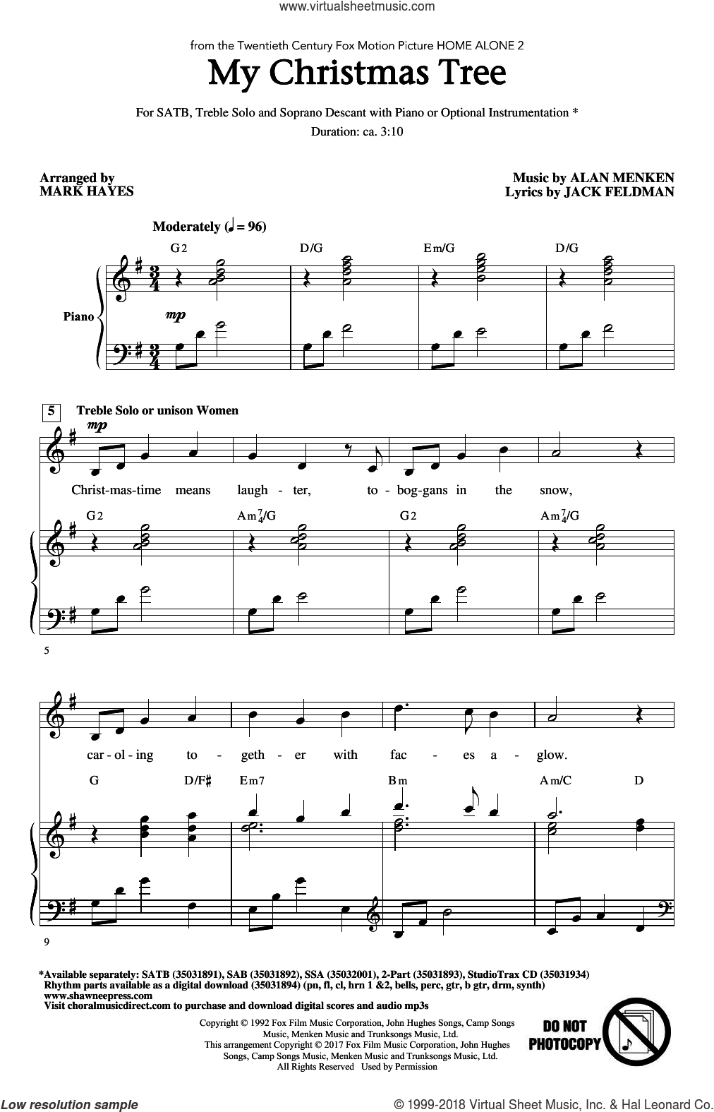 My Christmas Tree sheet music for choir (SATB: soprano, alto, tenor, bass) by Alan Menken, Mark Hayes and Jack Feldman, intermediate skill level