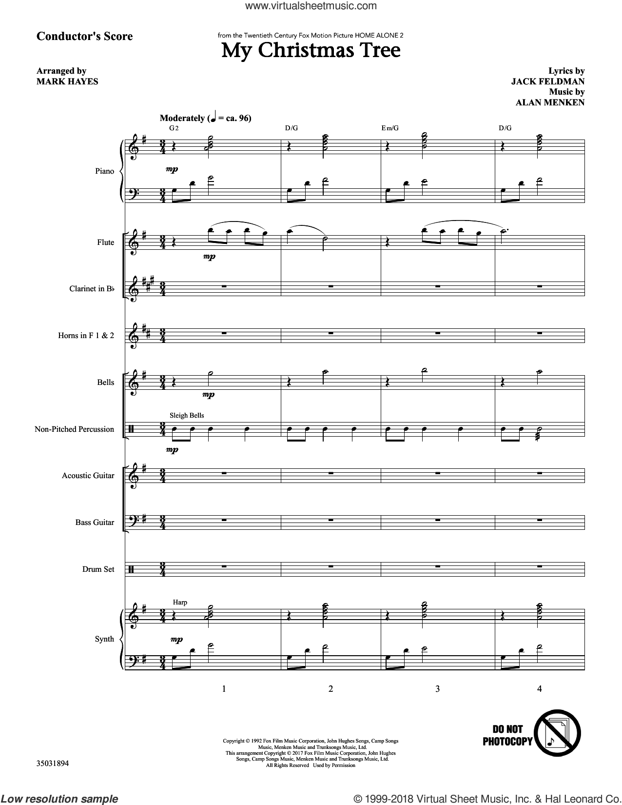 My Christmas Tree (COMPLETE) sheet music for orchestra/band by Alan Menken, Jack Feldman and Mark Hayes, intermediate skill level