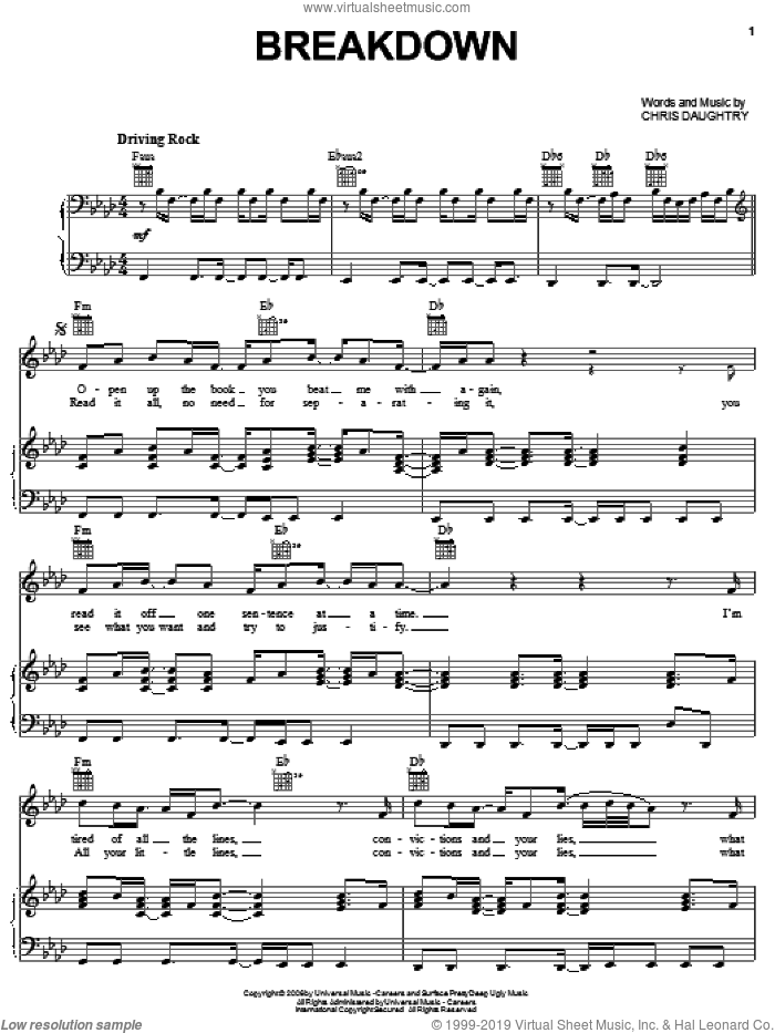 Breakdown sheet music for voice, piano or guitar by Chris Daughtry and Daughtry. Score Image Preview.