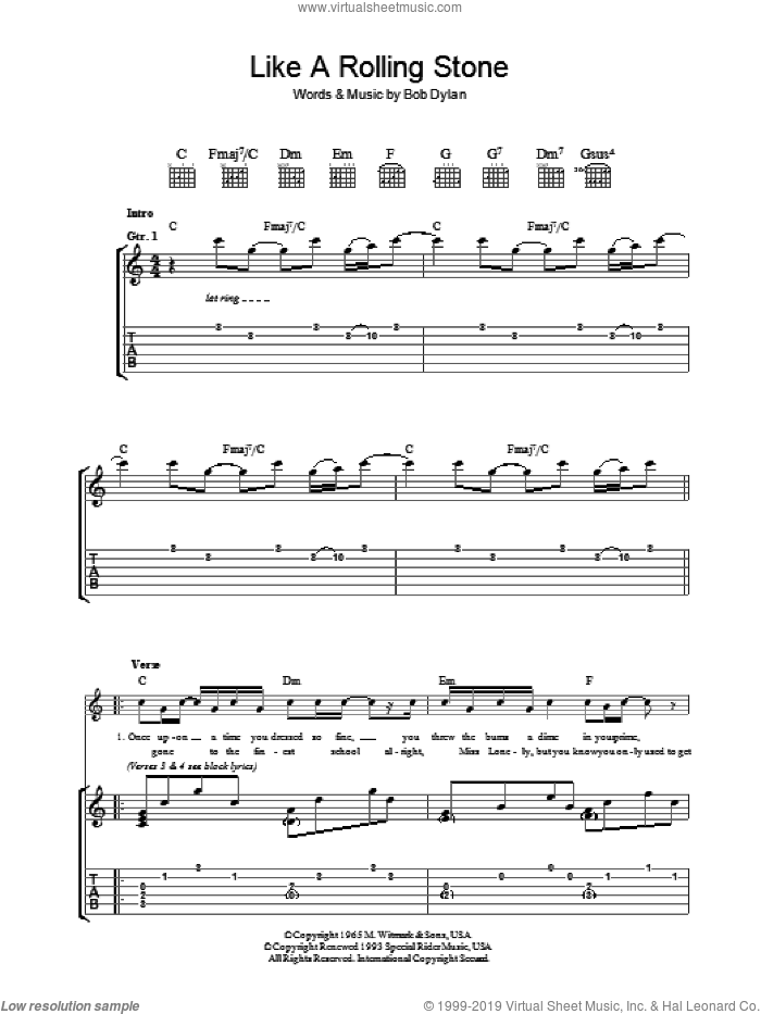 Like A Rolling Stone sheet music for guitar (tablature) by Bob Dylan, intermediate. Score Image Preview.