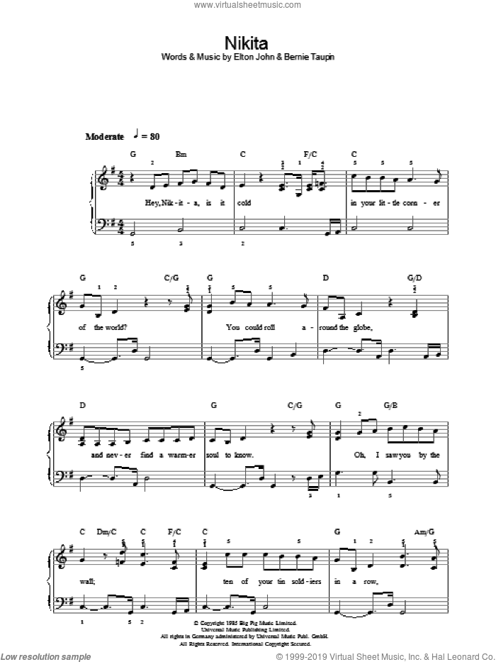Nikita sheet music for piano solo by Elton John and Bernie Taupin. Score Image Preview.