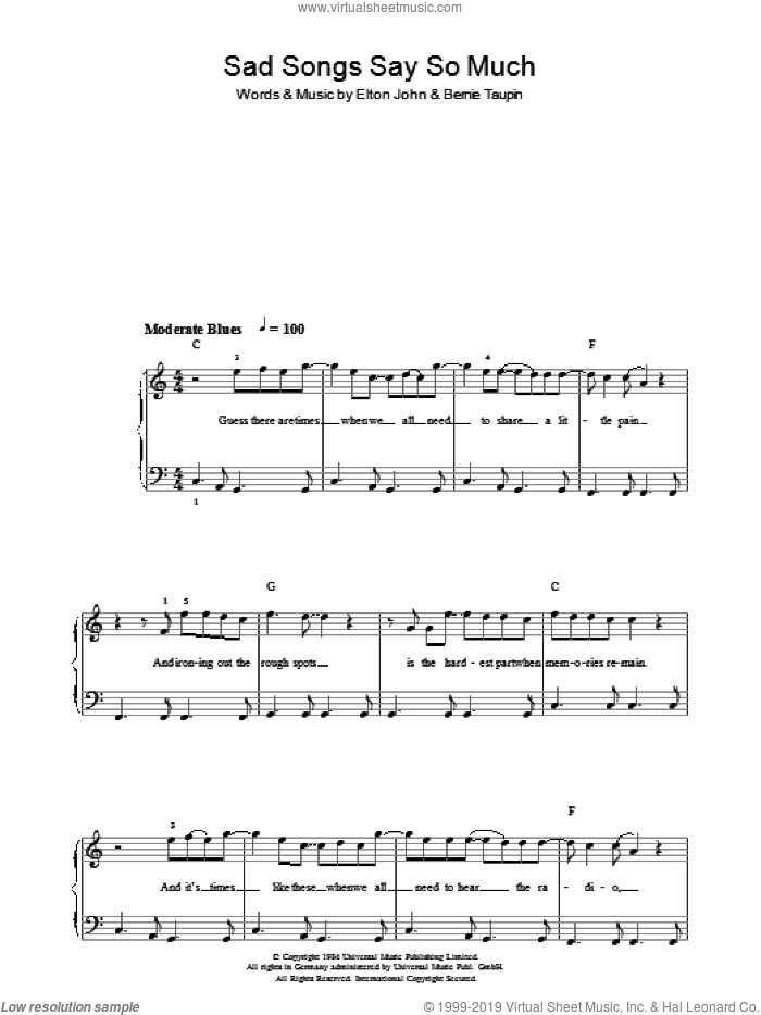 Sad Songs (Say So Much) sheet music for piano solo by Elton John and Bernie Taupin, easy